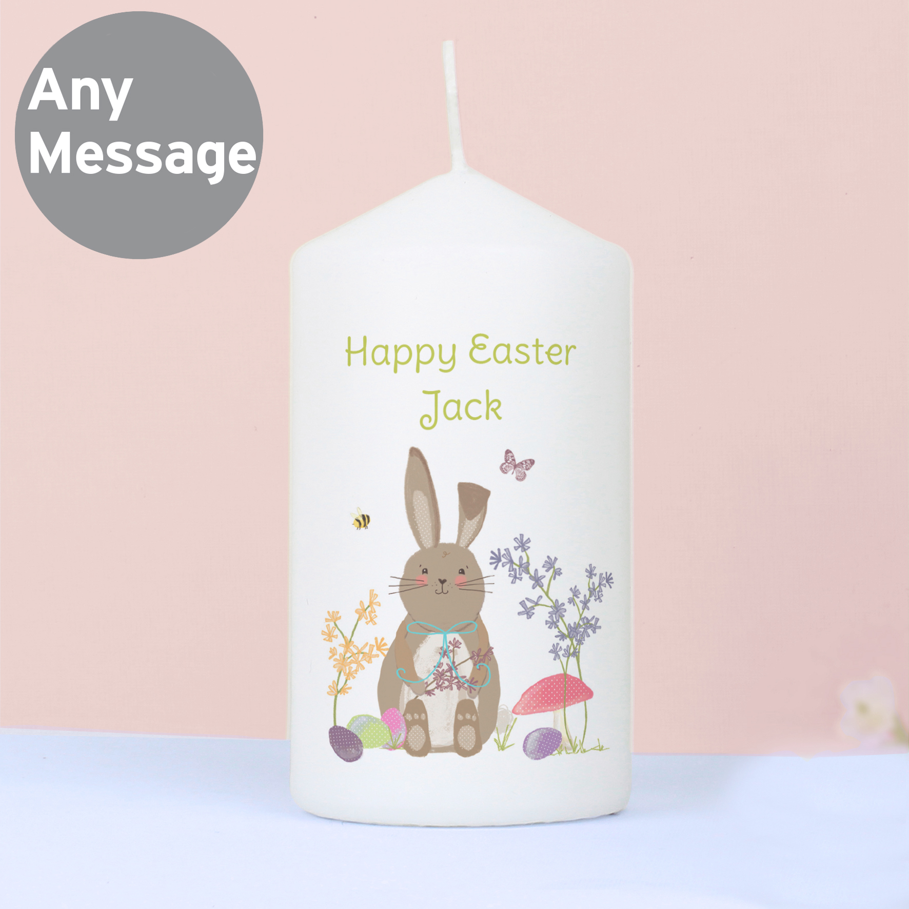 Personalised Easter Meadow Bunny Candle