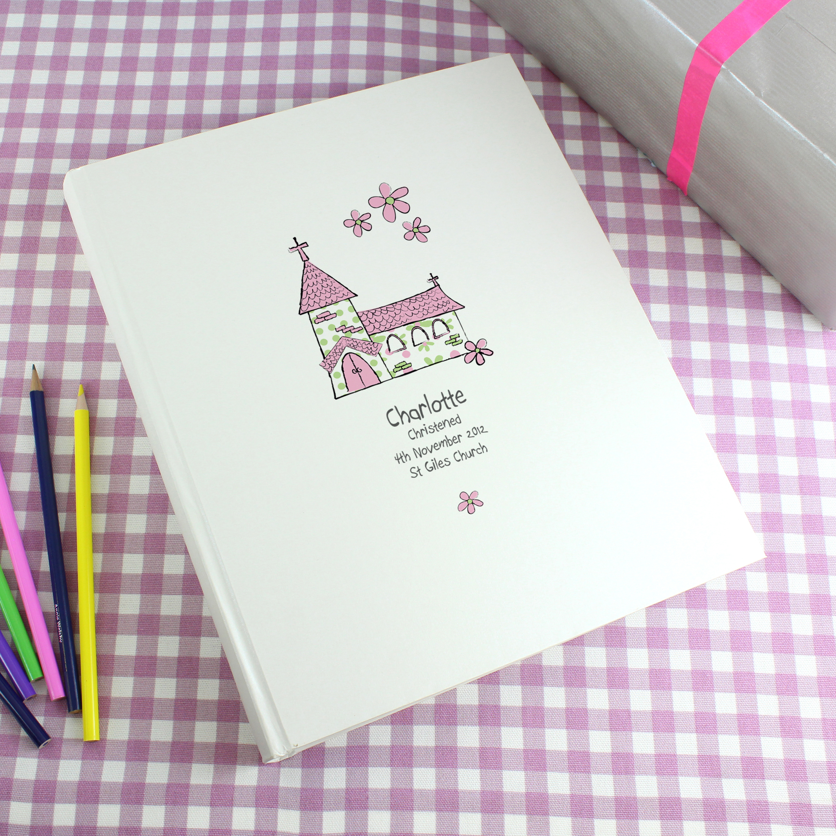 Personalised Pink Church Traditional Album