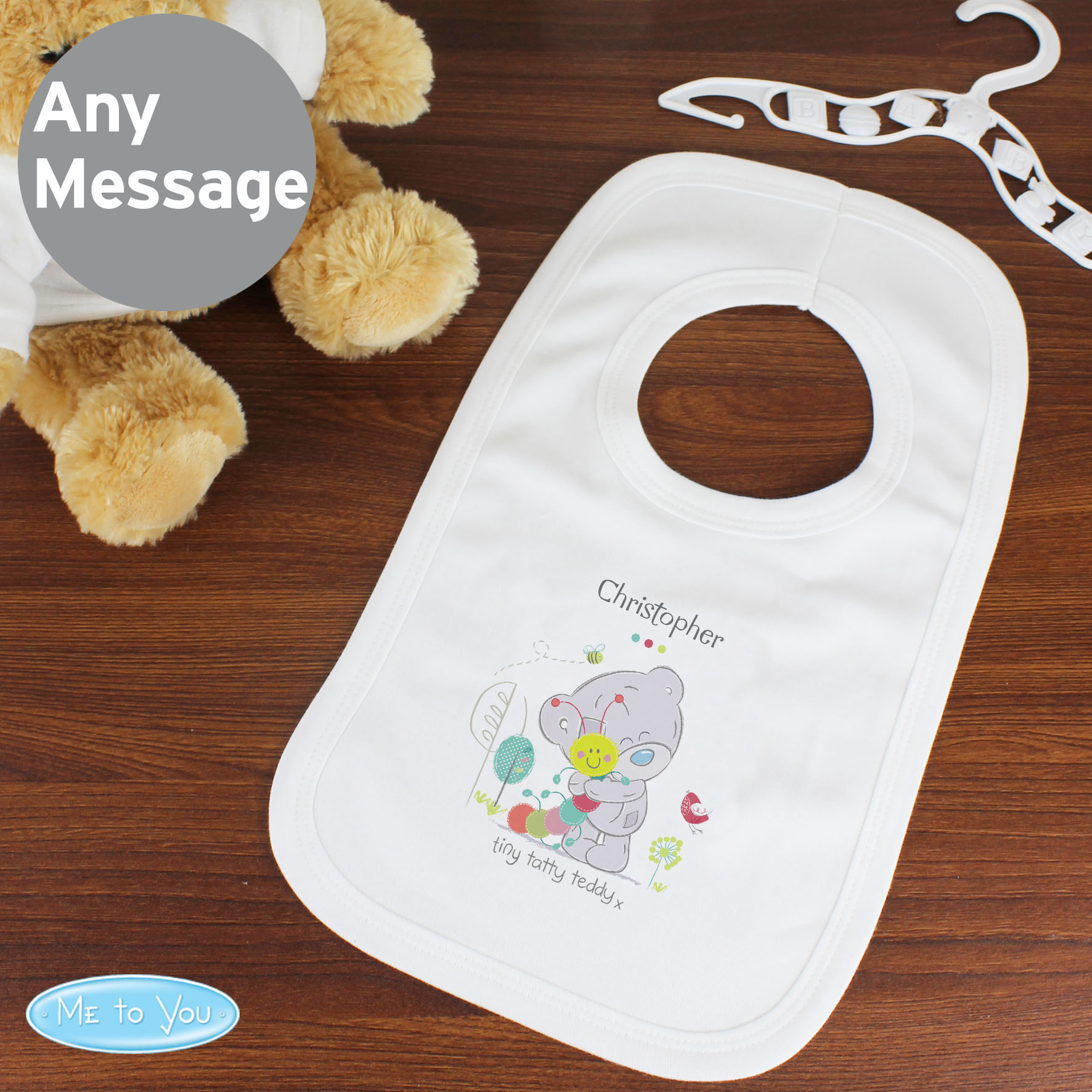 Personalised Tiny Tatty Teddy Cuddle Bug 0-3 Months Baby Bib