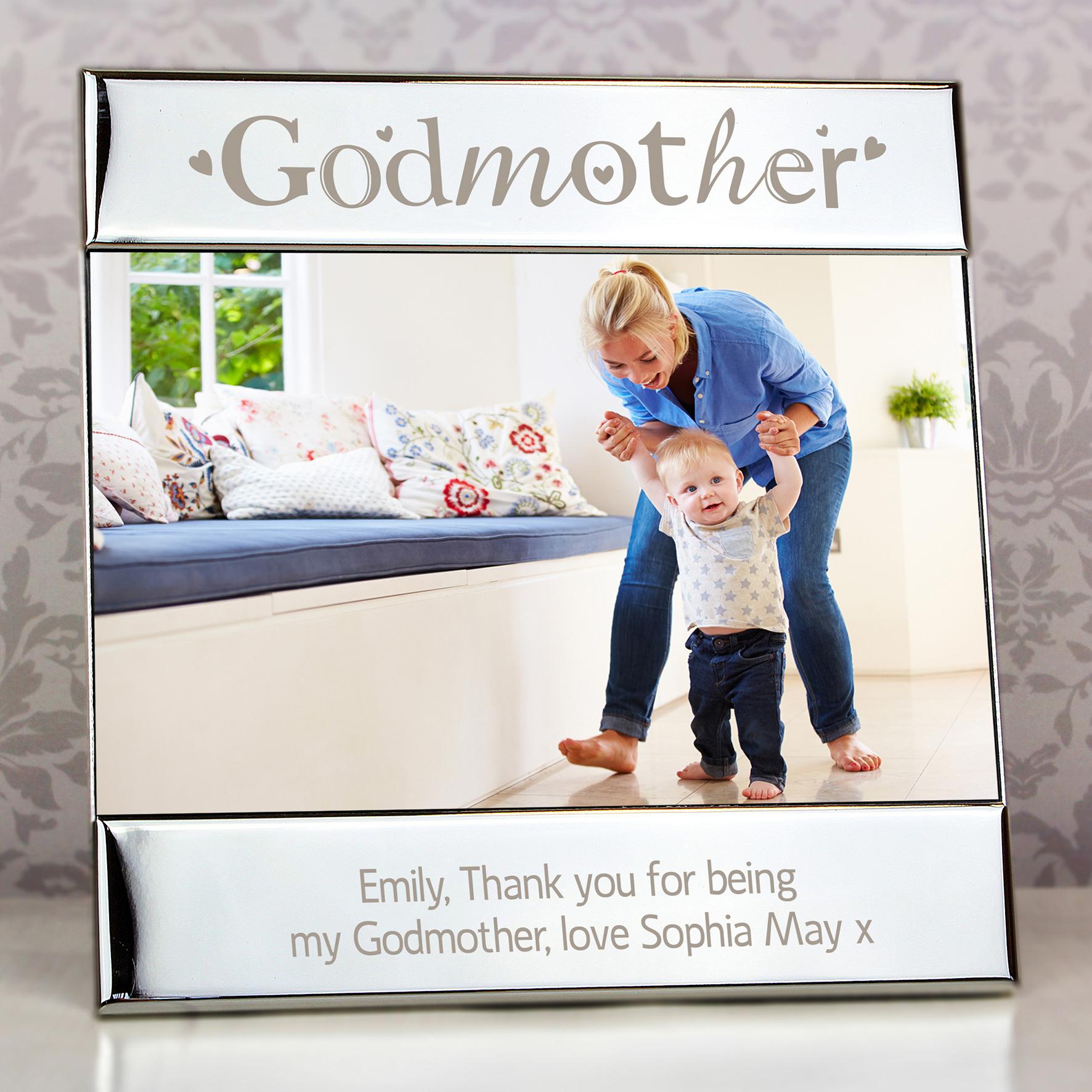 Engraved Silver Godmother Square Frame