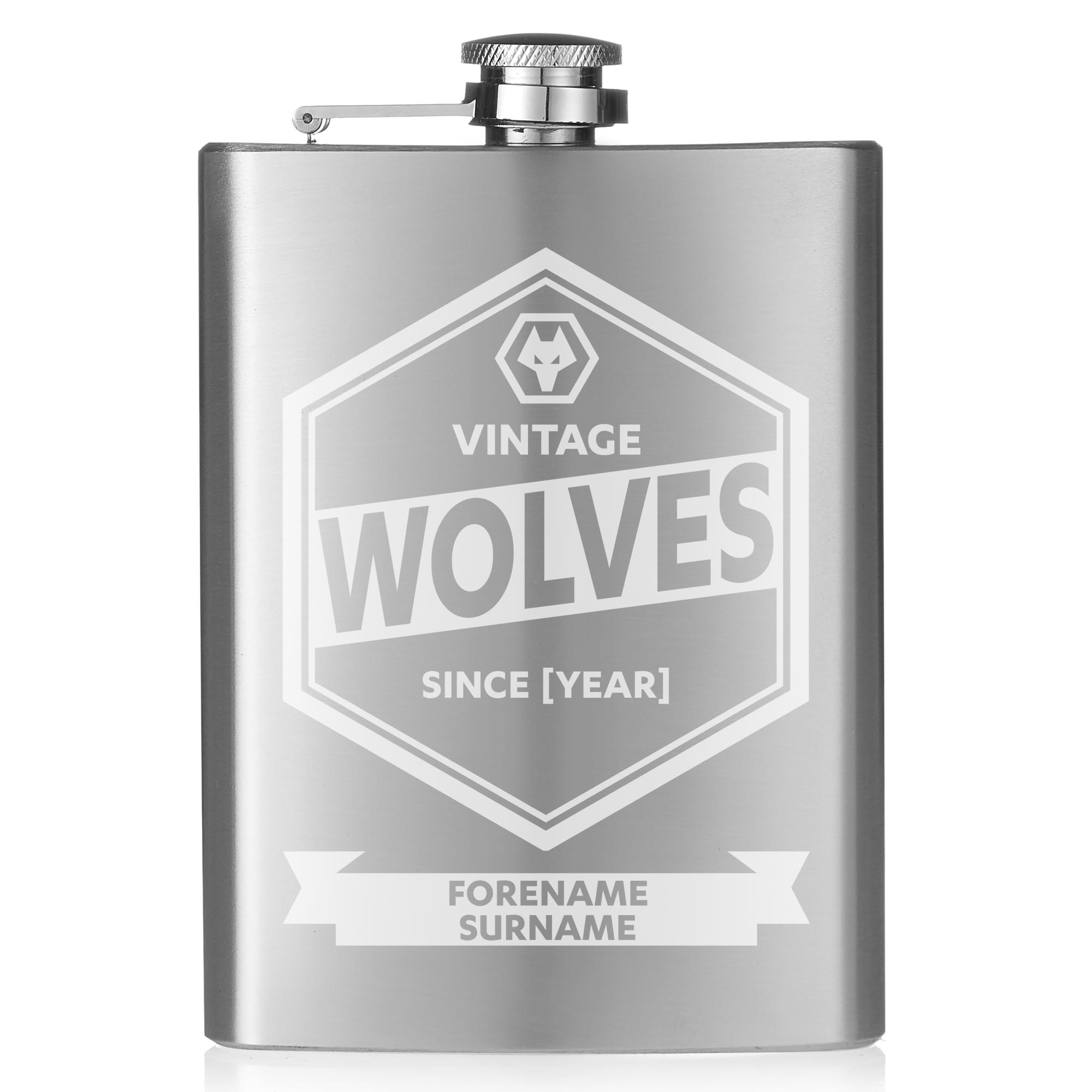 Wolves Vintage Hip Flask