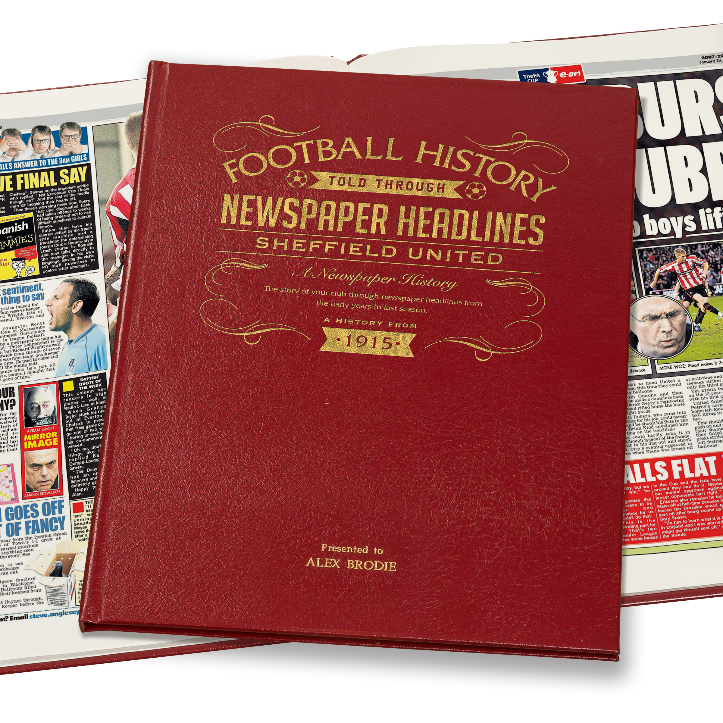 Sheffield United Football Newspaper Book - A3 Luxury Leather Red Colour