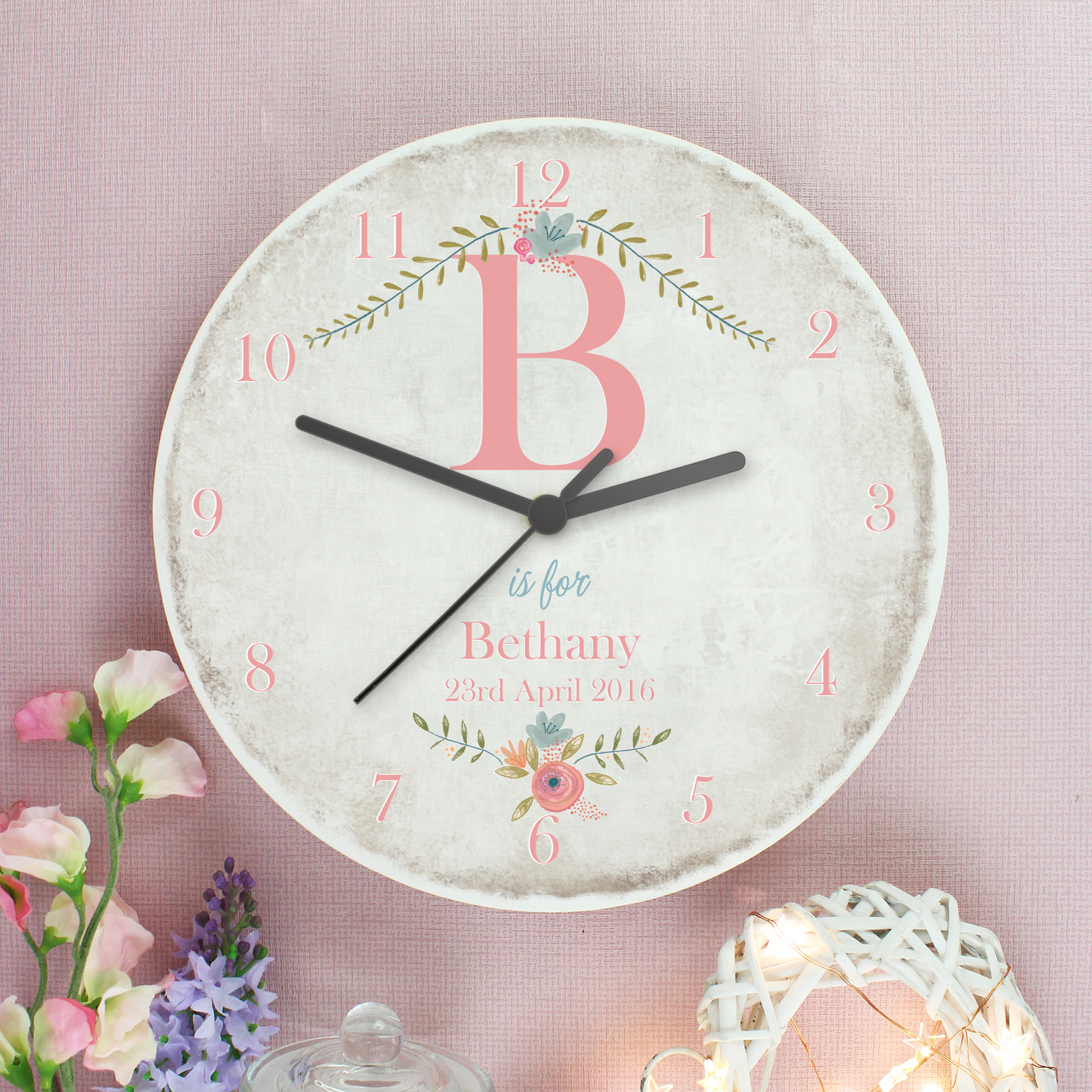 Personalised Floral Bouquet Shabby Chic Large Wooden Clock