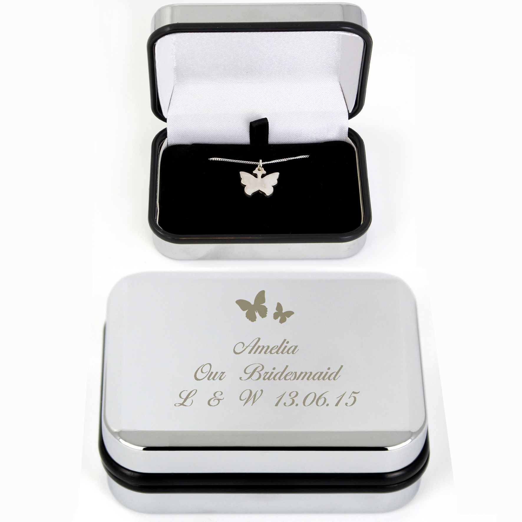Butterfly Swirl Necklace in Engraved Box