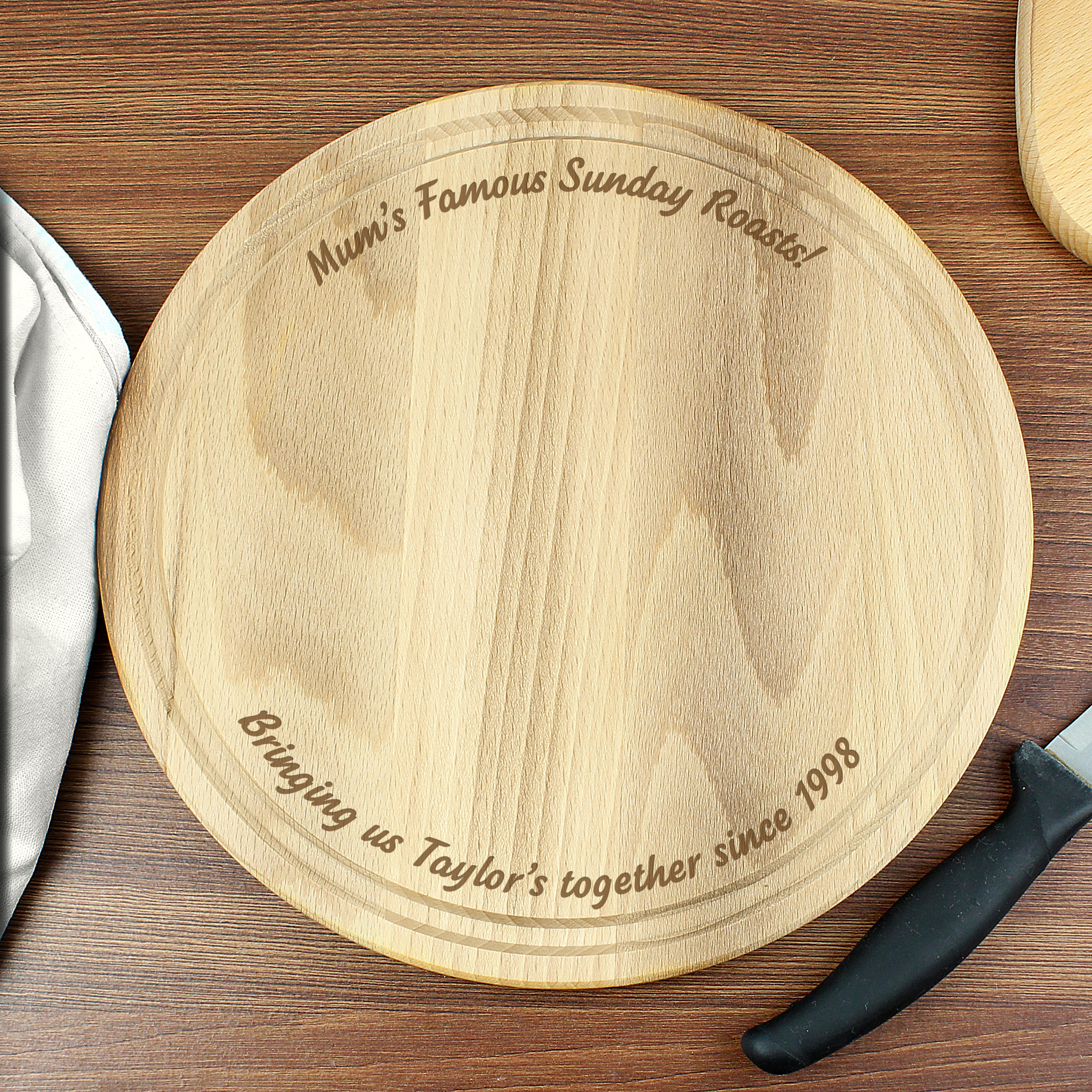 Engraved Plain Large Round Chopping Board