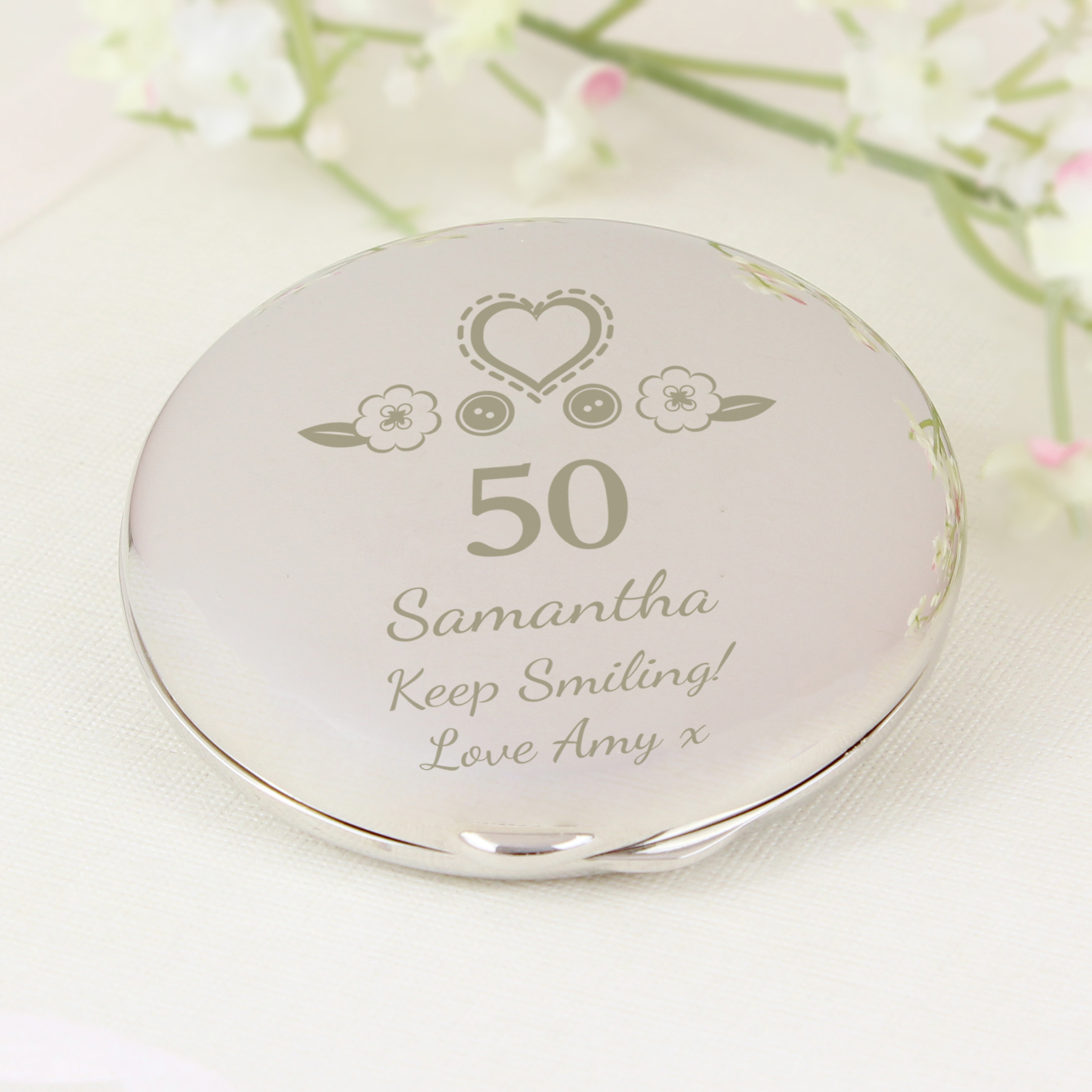 Engraved Birthday Craft Compact Mirror