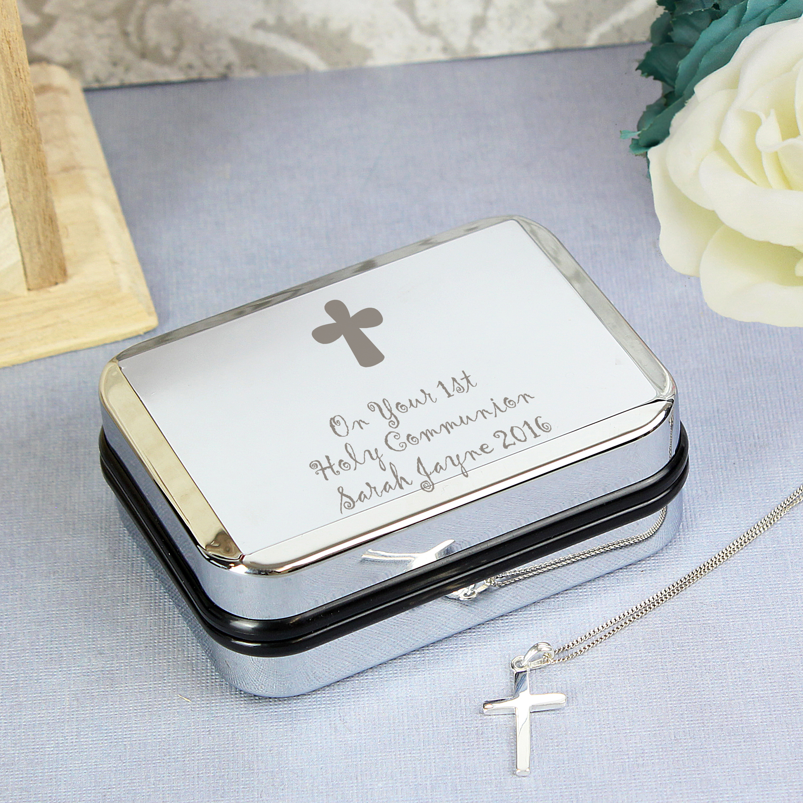 Engraved Cross Necklace and Box