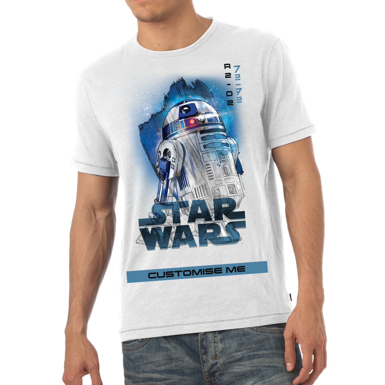 Star Wars R2-D2 Last Jedi Spray Paint Mens T-shirt