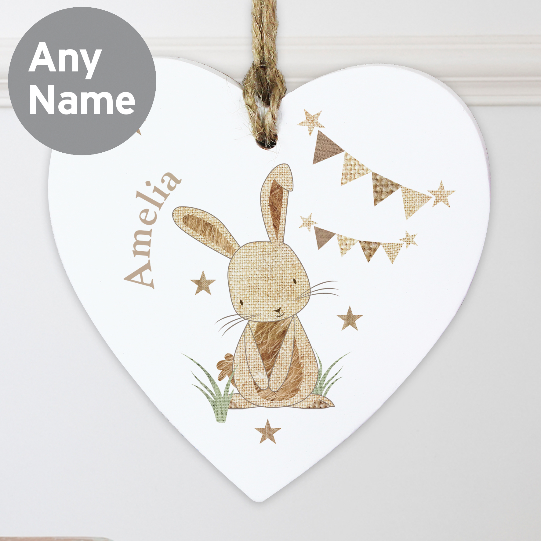 Personalised Hessian Rabbit Wooden Heart Decoration