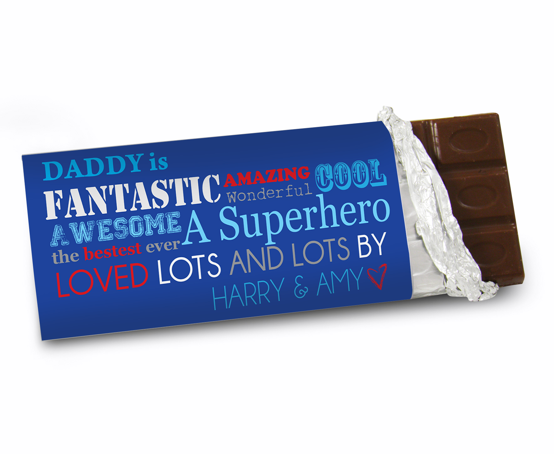 Personalised 'He Is...' Blue Font Design Milk Chocolate Bar