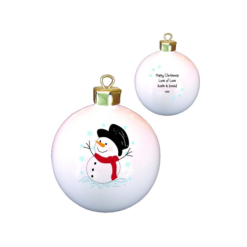 Traditional Snowman Bone China Bauble