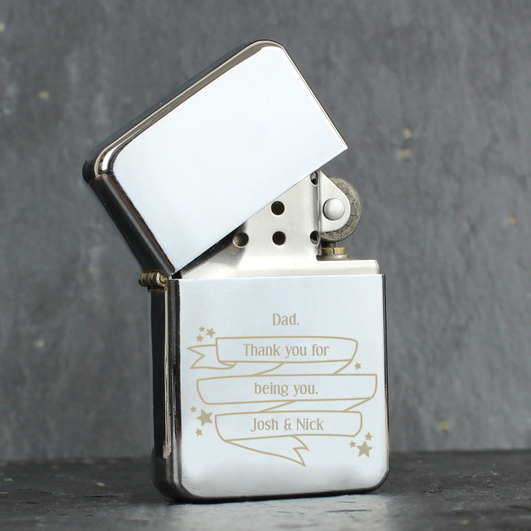 Engraved Shining Star Lighter
