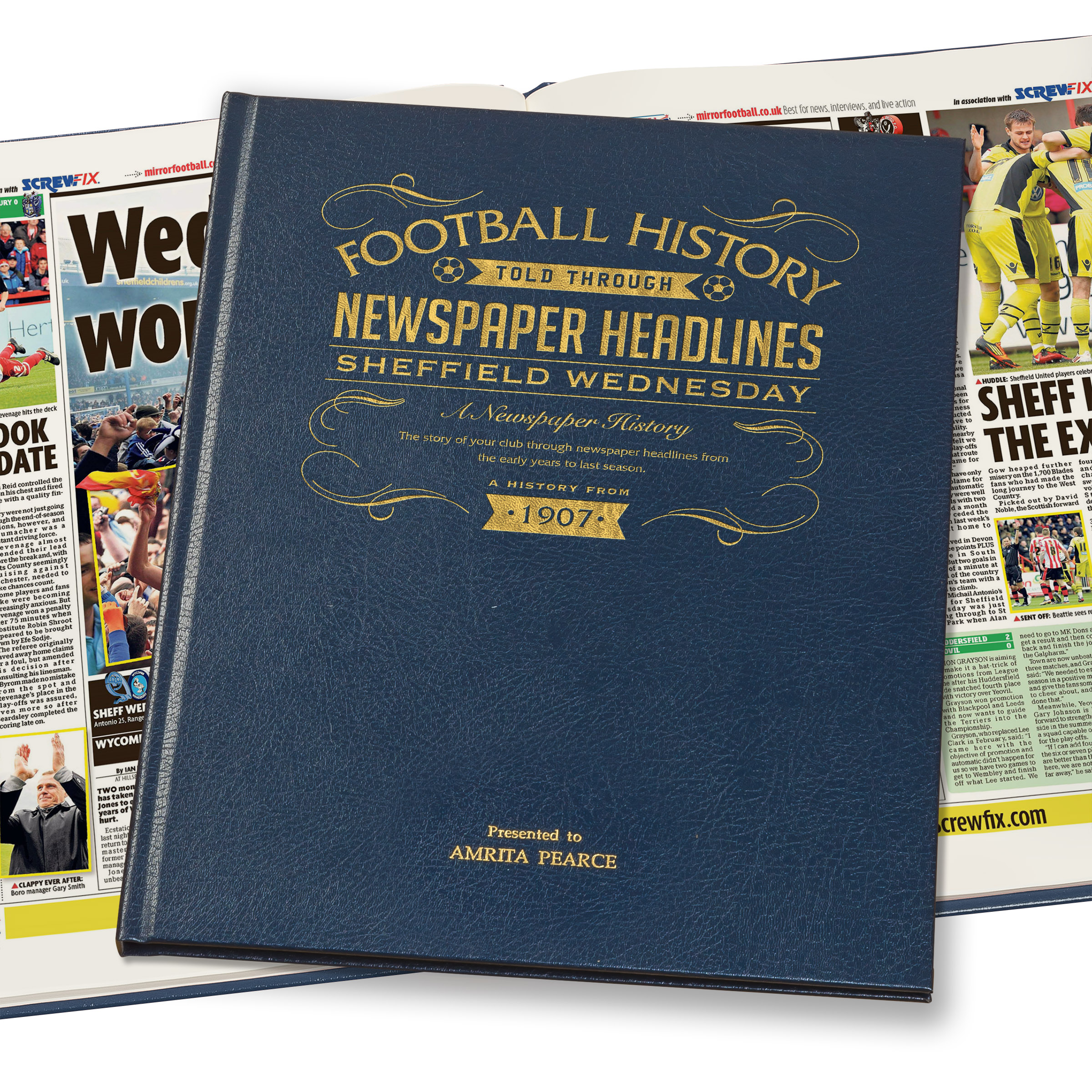 Sheffield Wednesday Football Newspaper Book - A3 Luxury Leather Blue Colour
