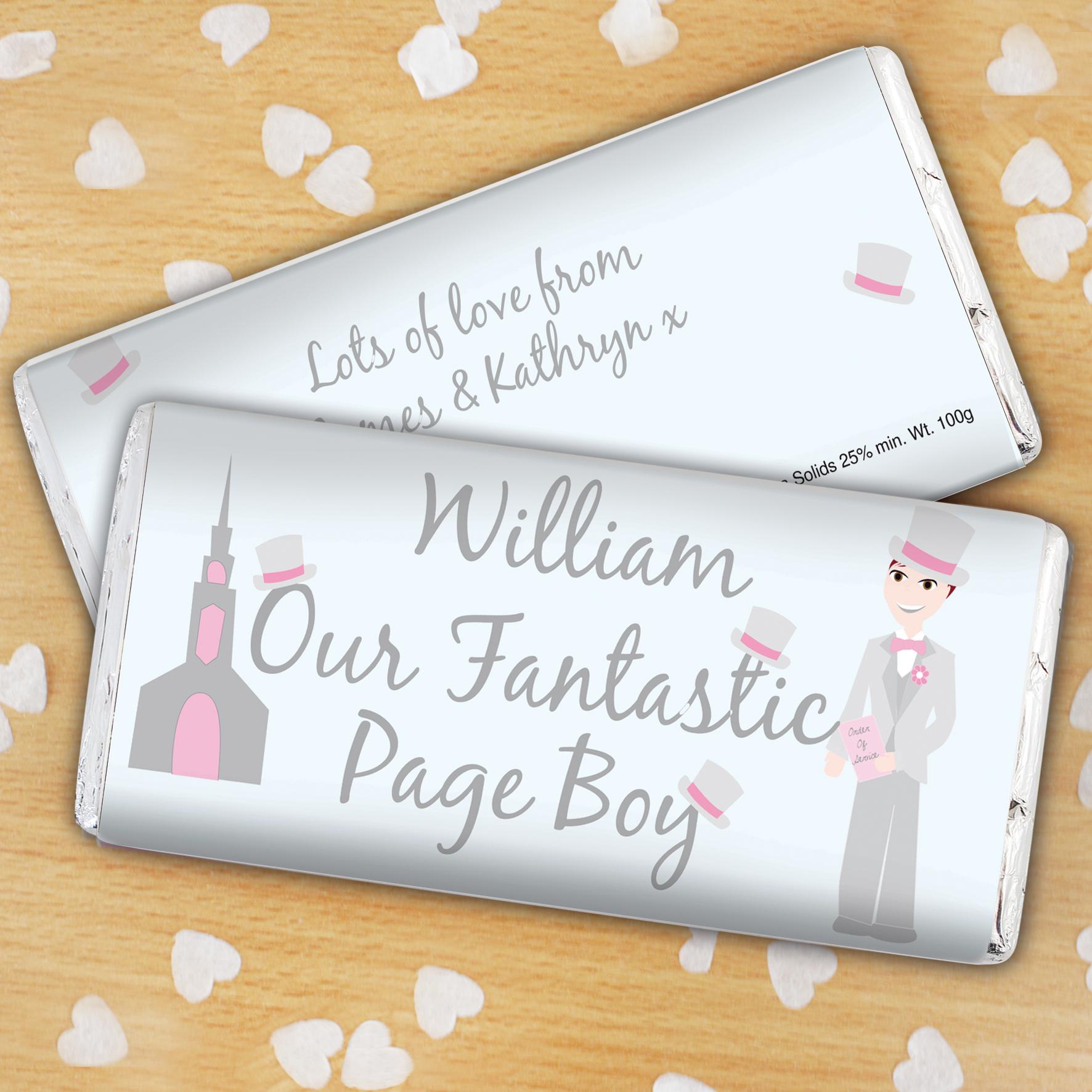 Personalised Fantastic Page Boy Milk Chocolate Bar