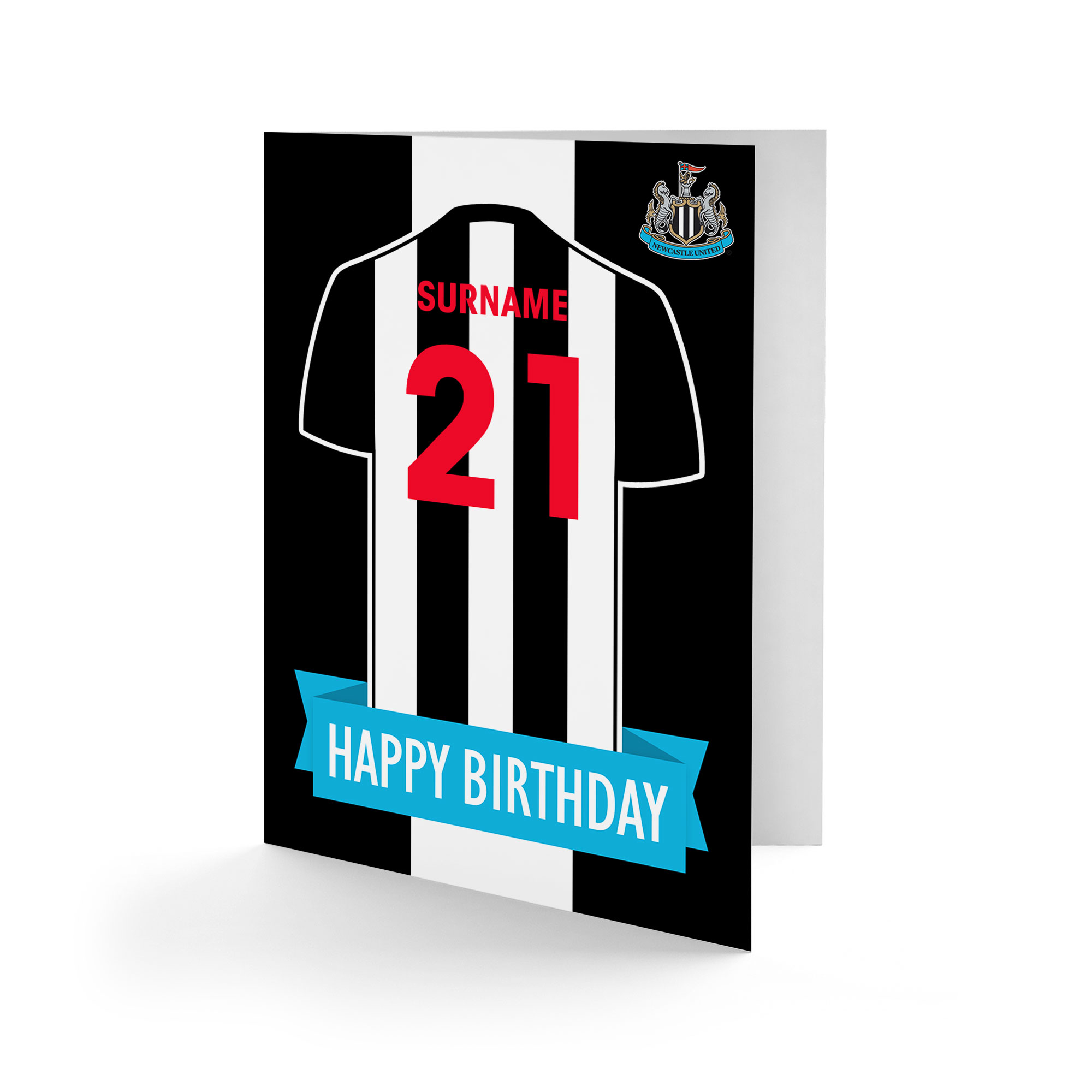 Newcastle United FC Shirt Birthday Card