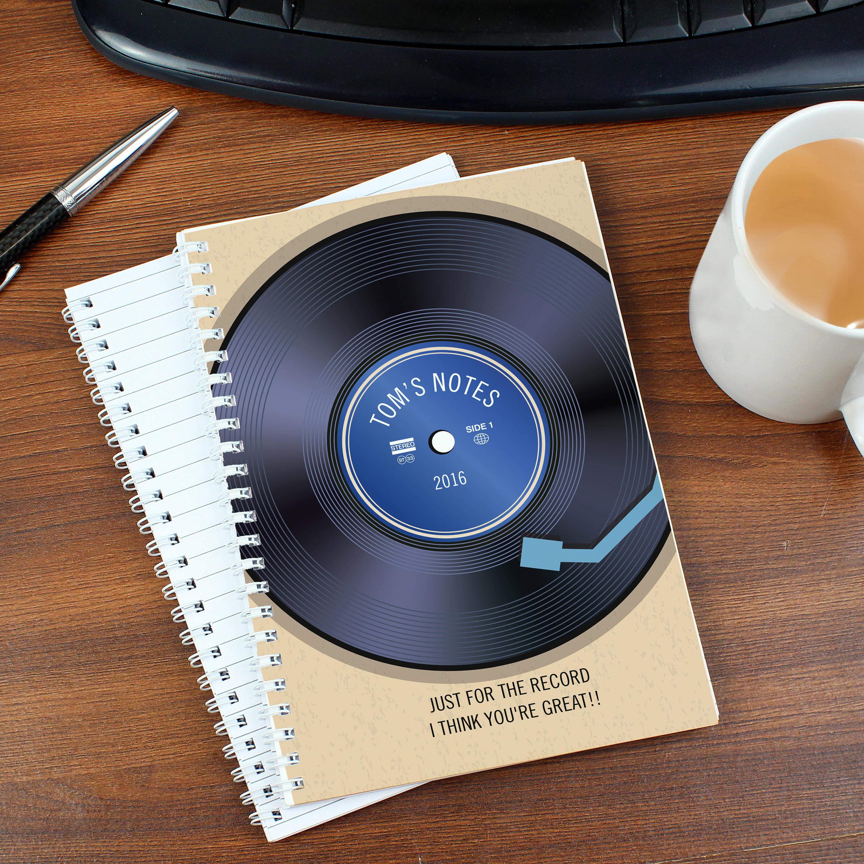 Personalised Retro Vinyl Notebook