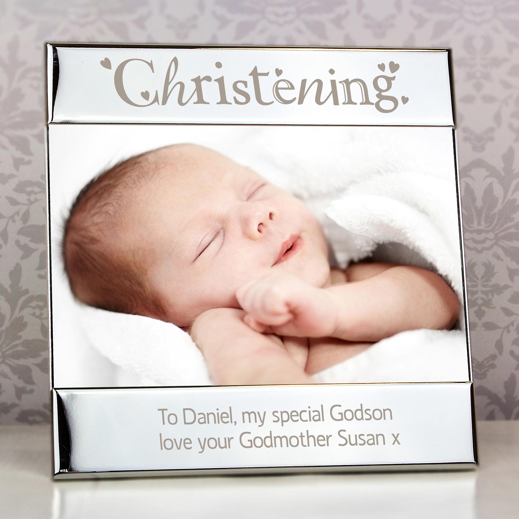 Engraved Silver Christening Square Frame