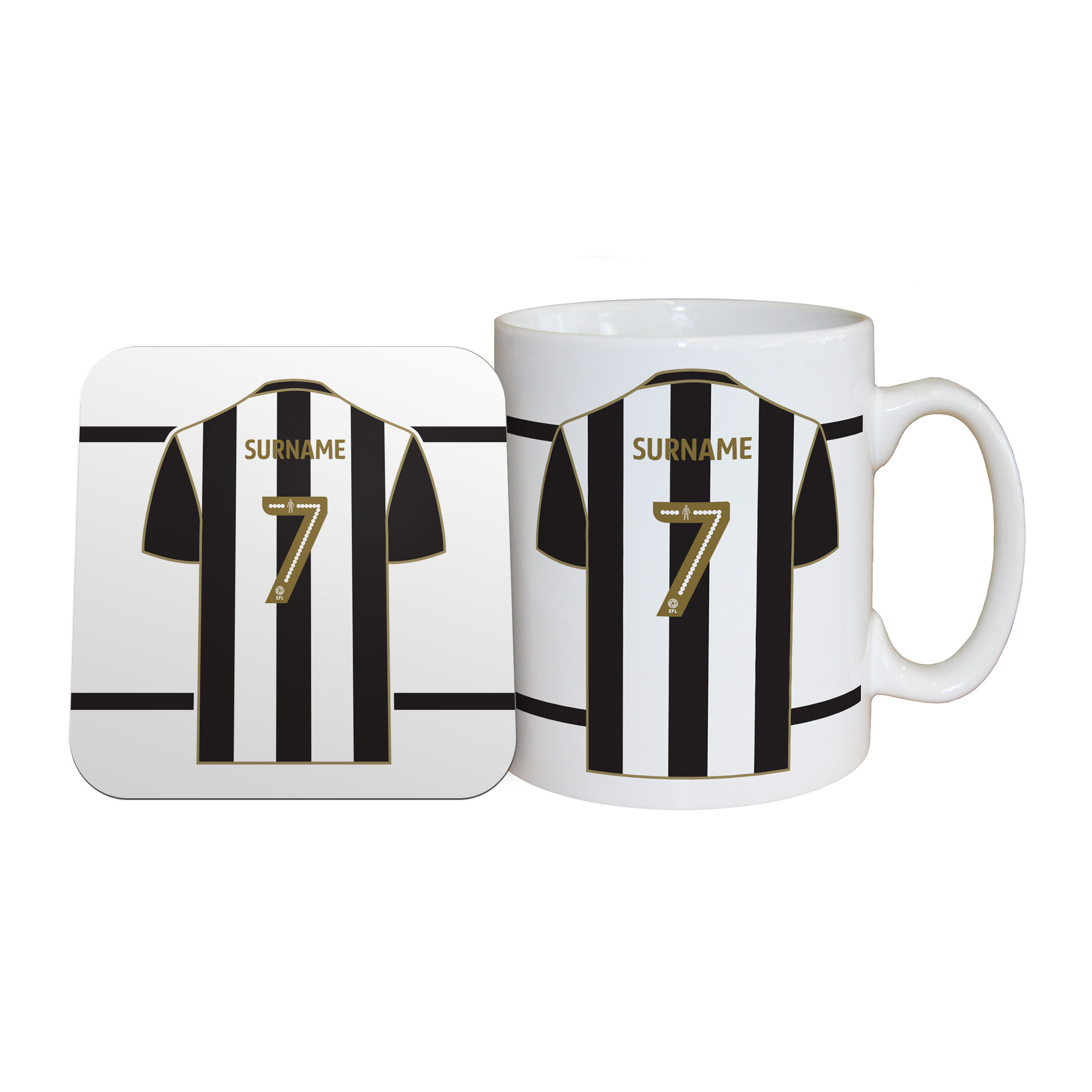 Notts County FC Shirt Mug & Coaster Set