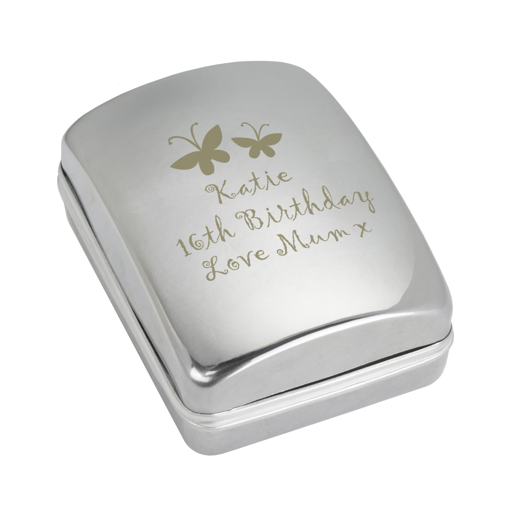 Engraved Butterfly Motif Pendant Gift Box