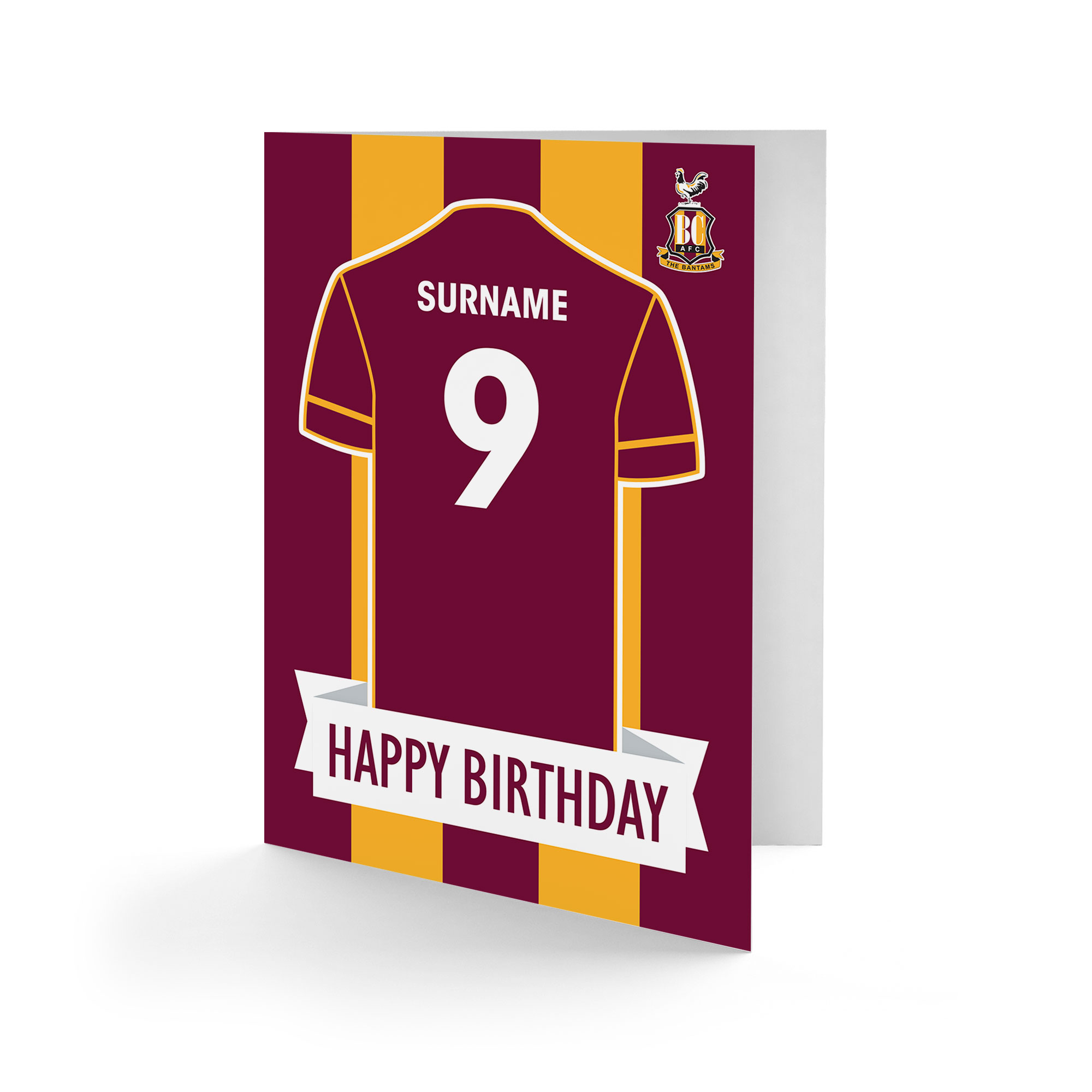 Bradford City AFC Shirt Birthday Card