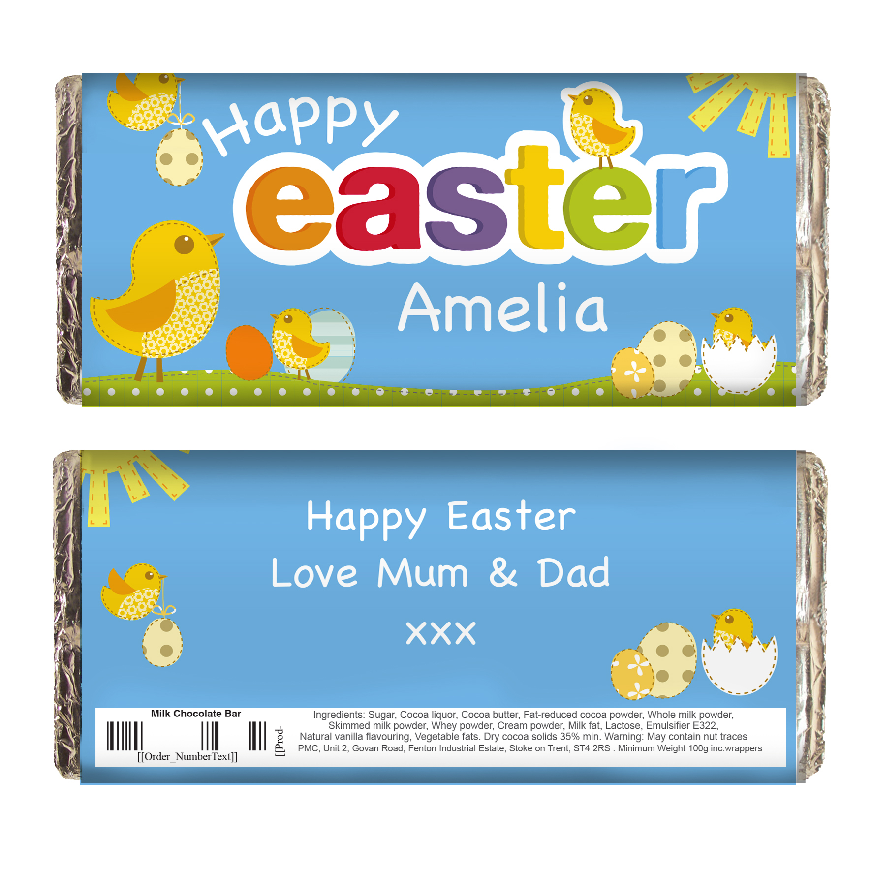 Personalised Easter Chick Milk Chocolate Bar