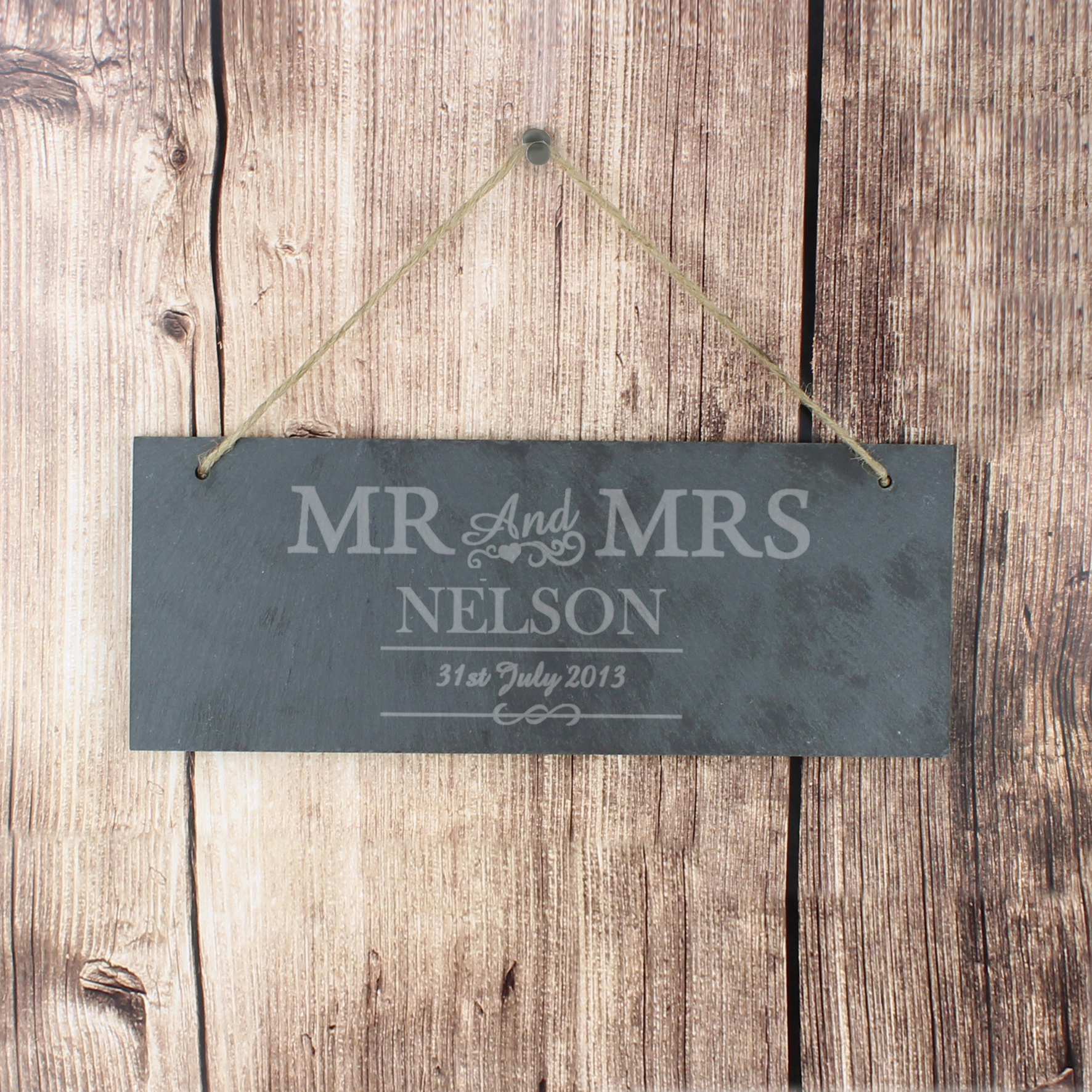 Engraved Mr & Mrs Slate Door Sign