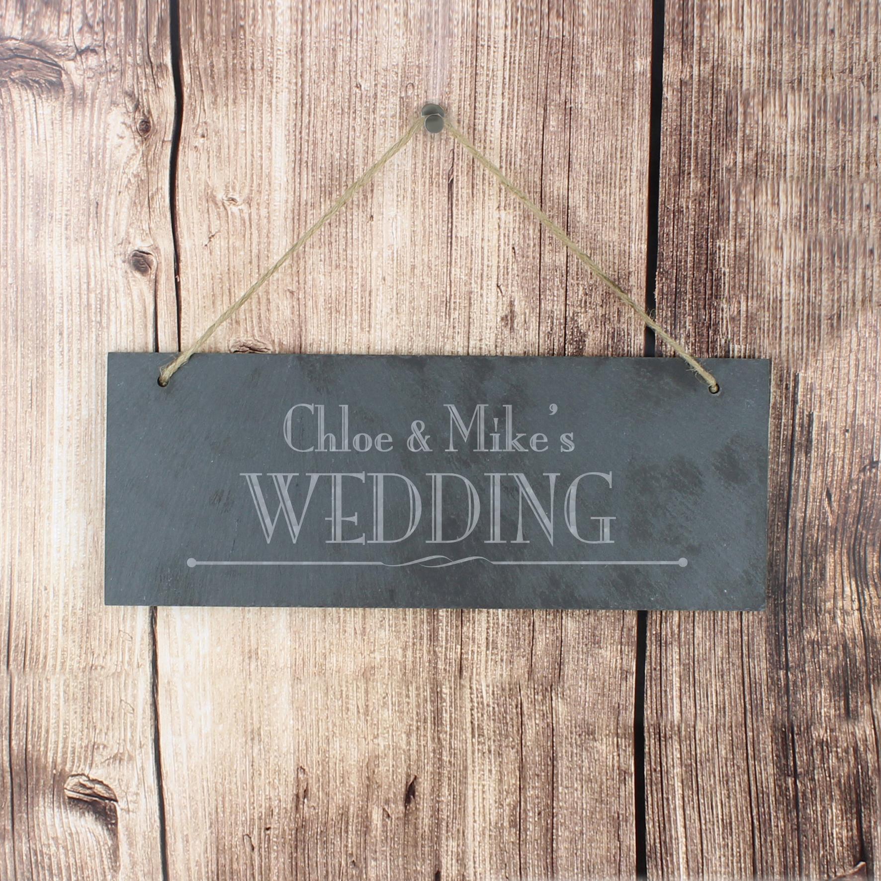 Engraved Wedding Slate Door Plaque