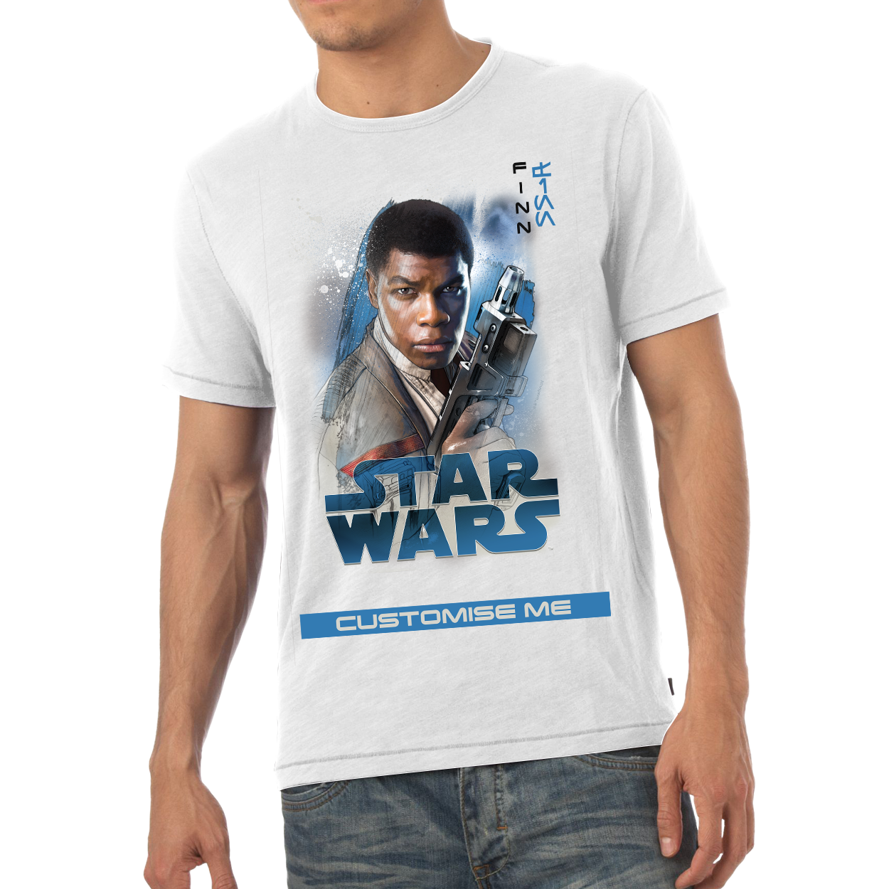 Star Wars Finn Last Jedi Spray Paint Mens T-shirt