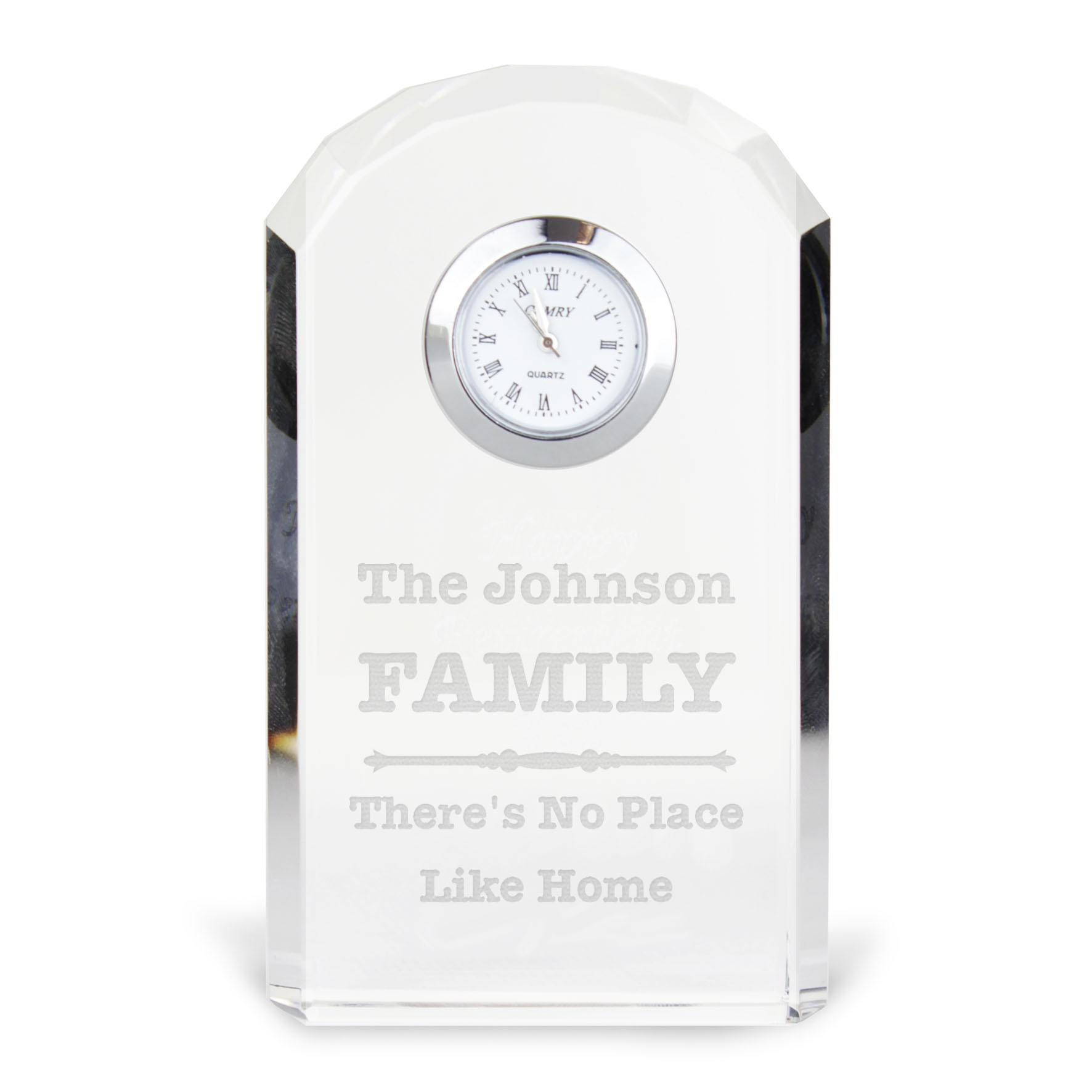 Engraved Scroll Design Crystal Clock