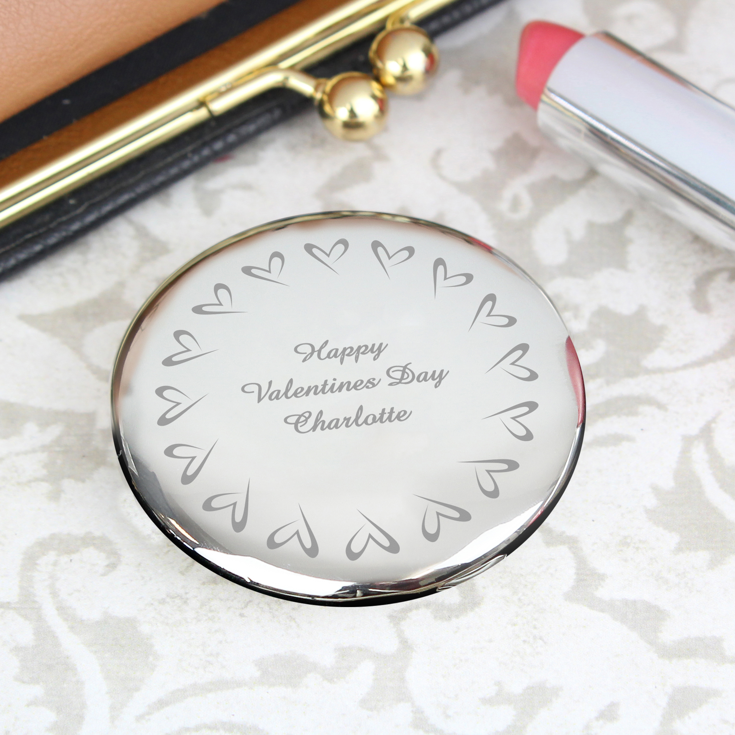 Engraved Round Compact Mirror - Small Hearts