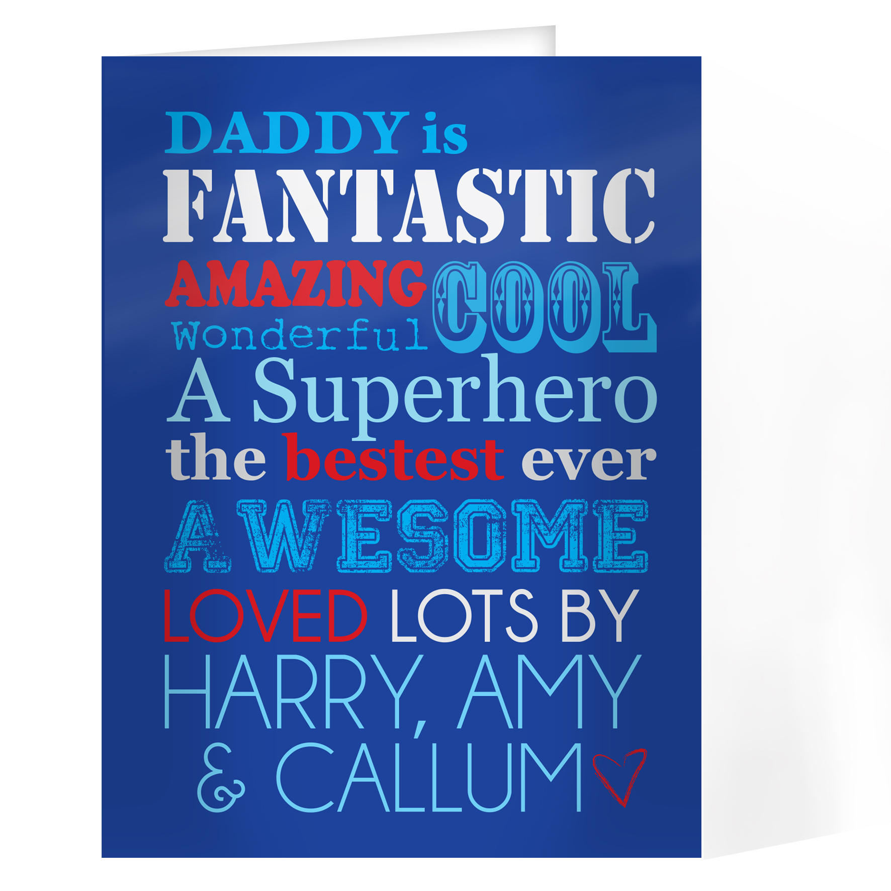 Personalised 'He Is...' Blue Font Design Card