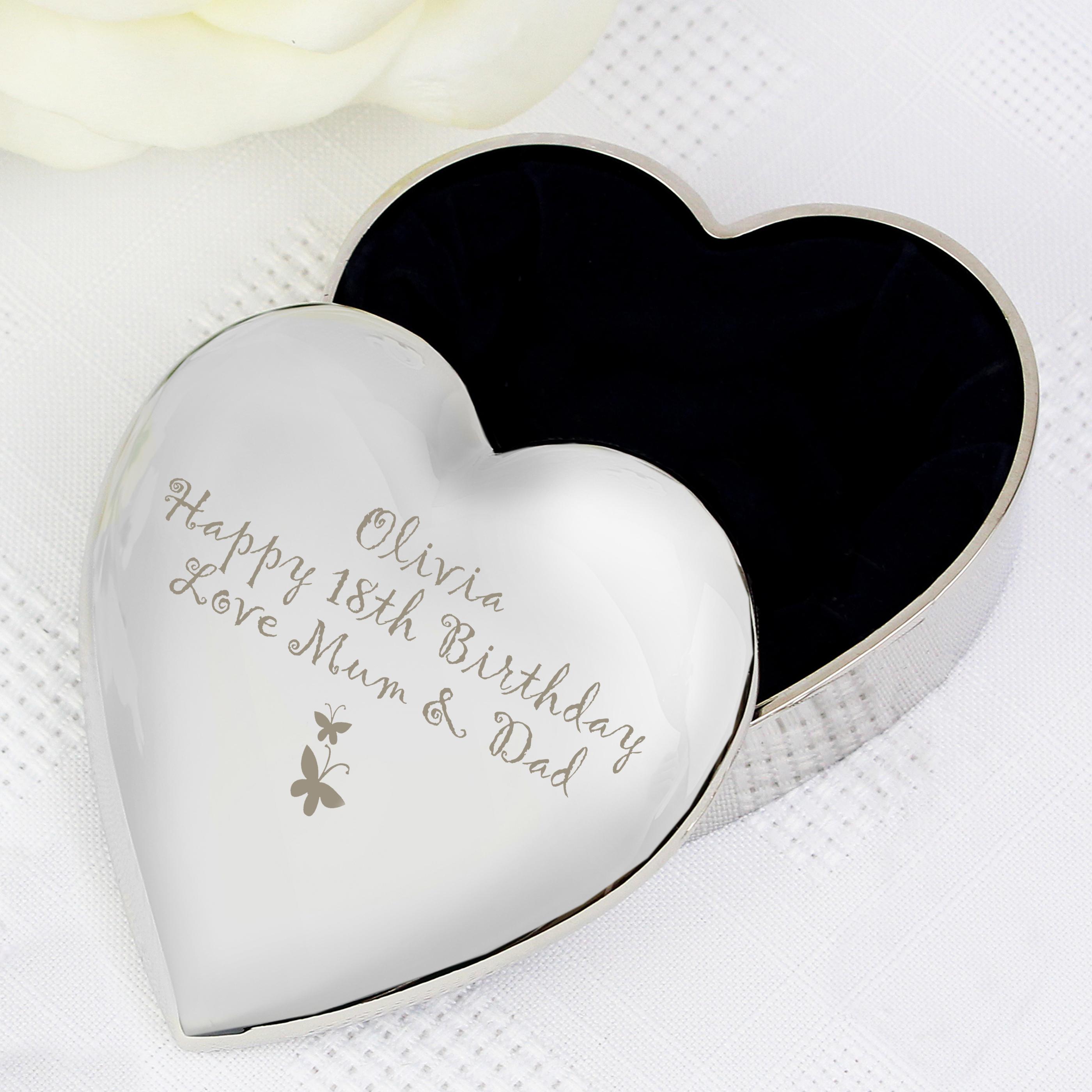 Engraved Butterfly Motif Heart Trinket
