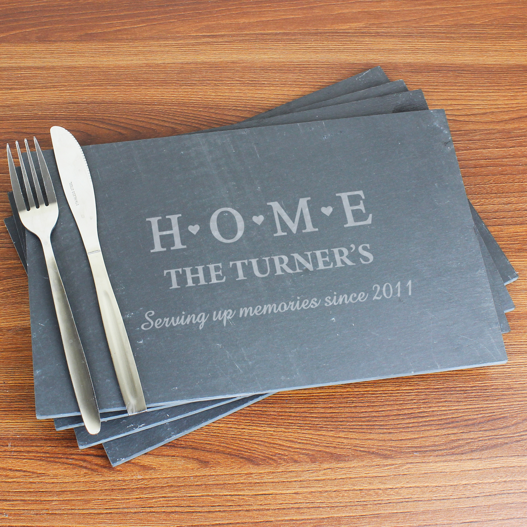 Engraved HOME Slate Rectangle Placemat 4 Pack