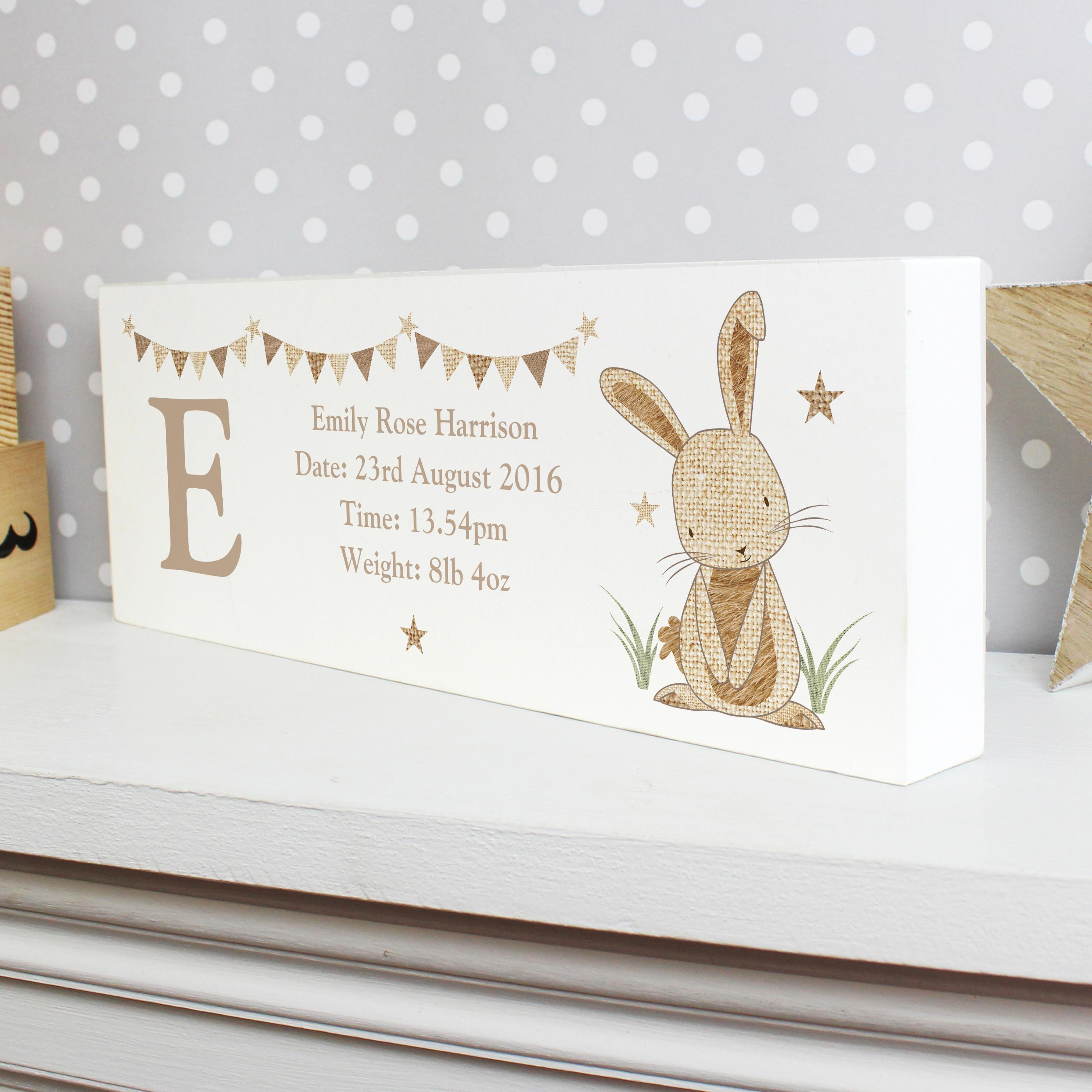 Personalised Hessian Rabbit Mantel Block