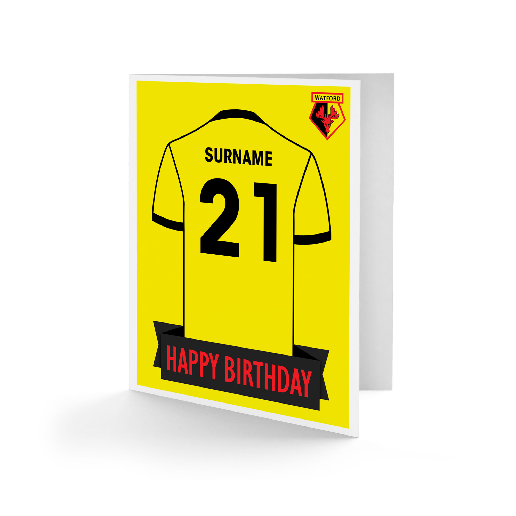 Watford FC Shirt Birthday Card