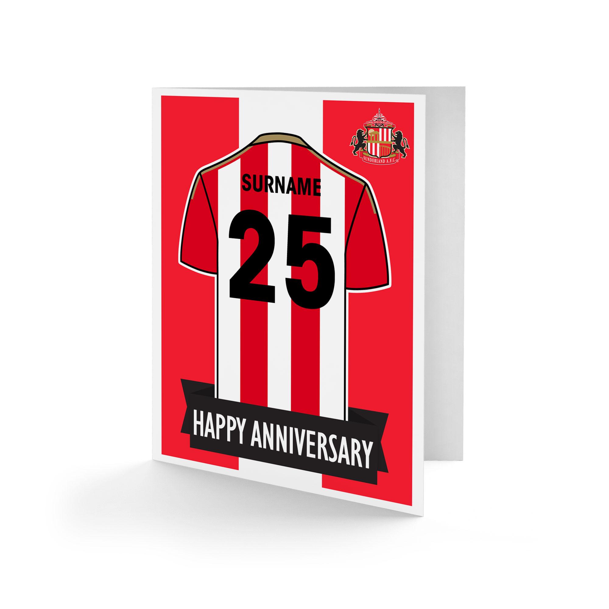 Sunderland Shirt Anniversary Card
