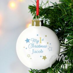 Personalised Babies First Christmas Bauble - Boy