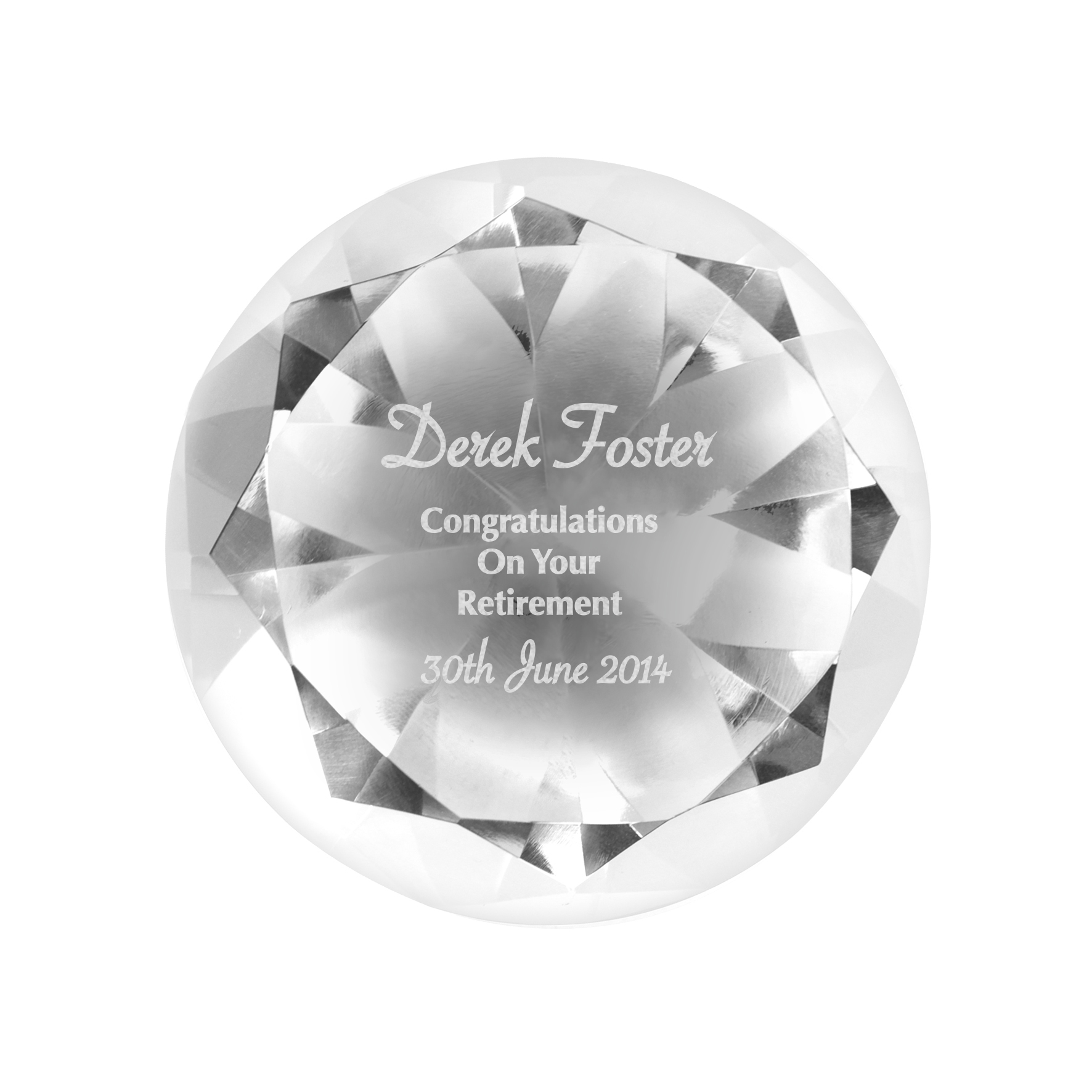 Engraved Occasion Diamond Paperweight