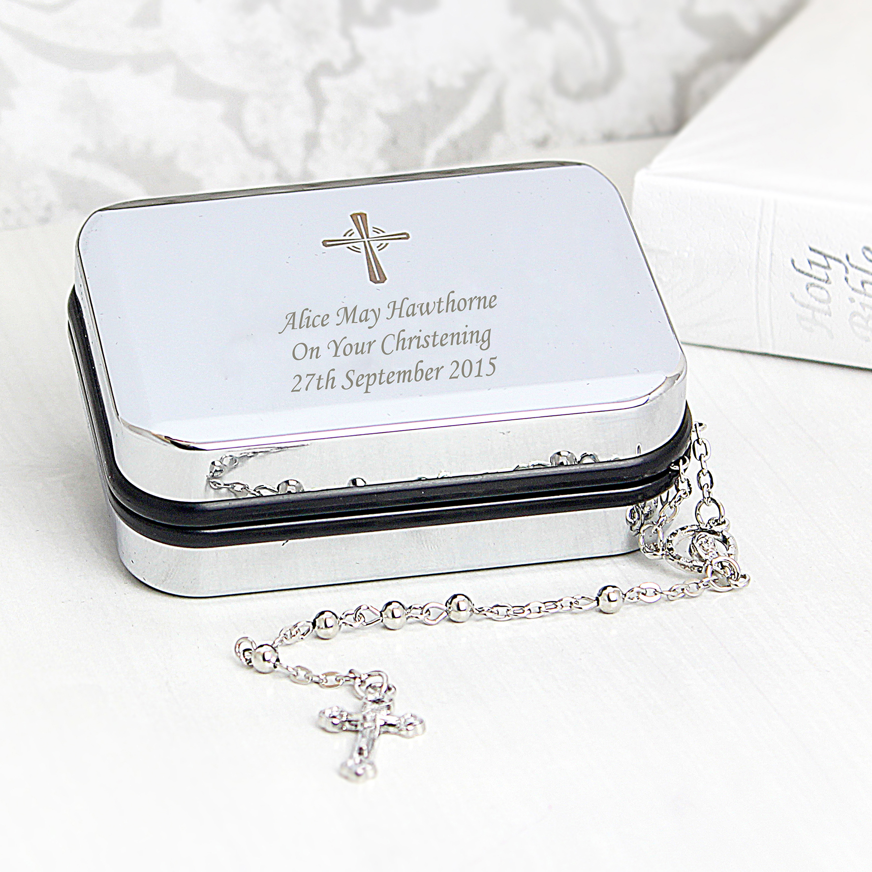 Engraved Rosary Beads and Cross Pendant Box