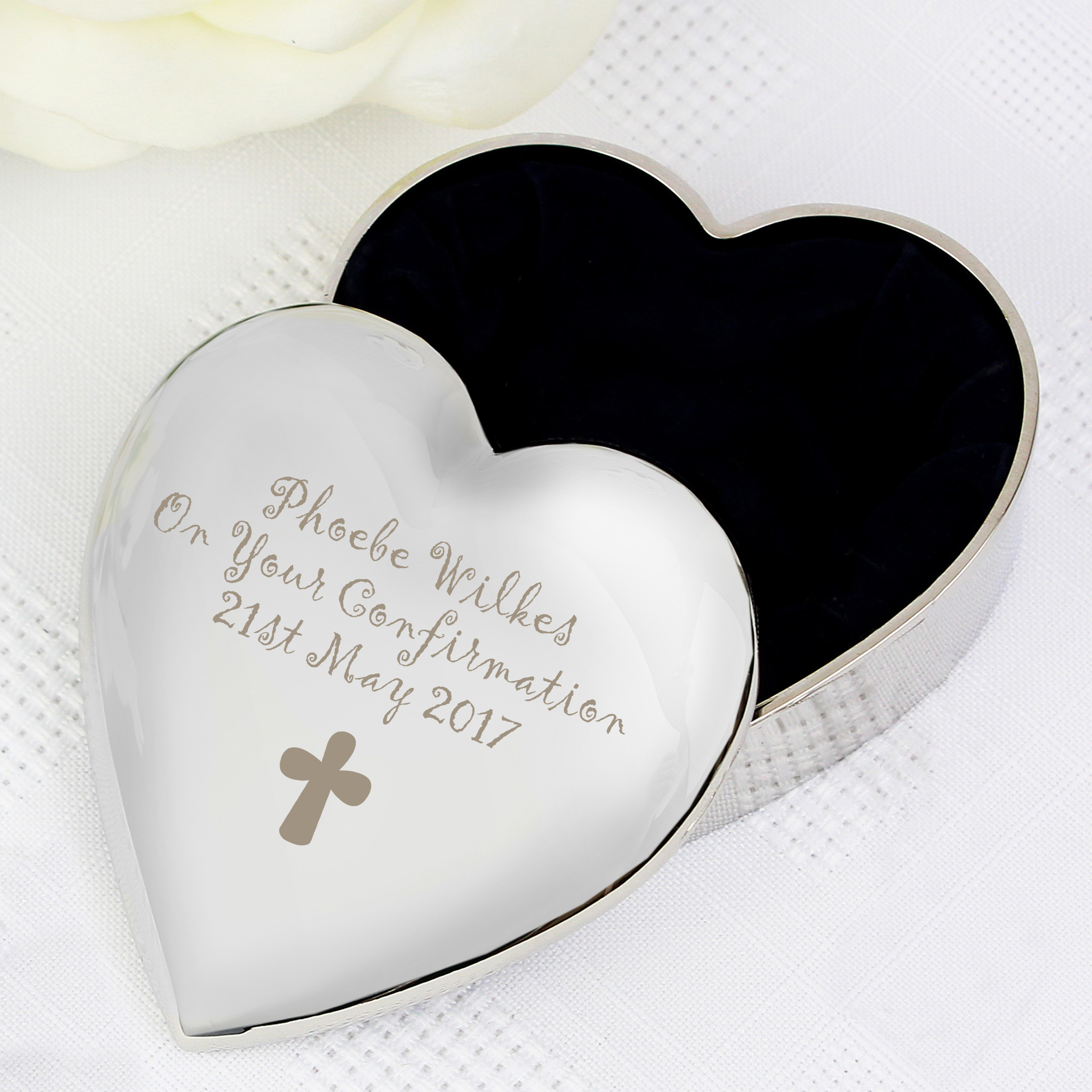 Engraved Cross Motif Heart Trinket Box