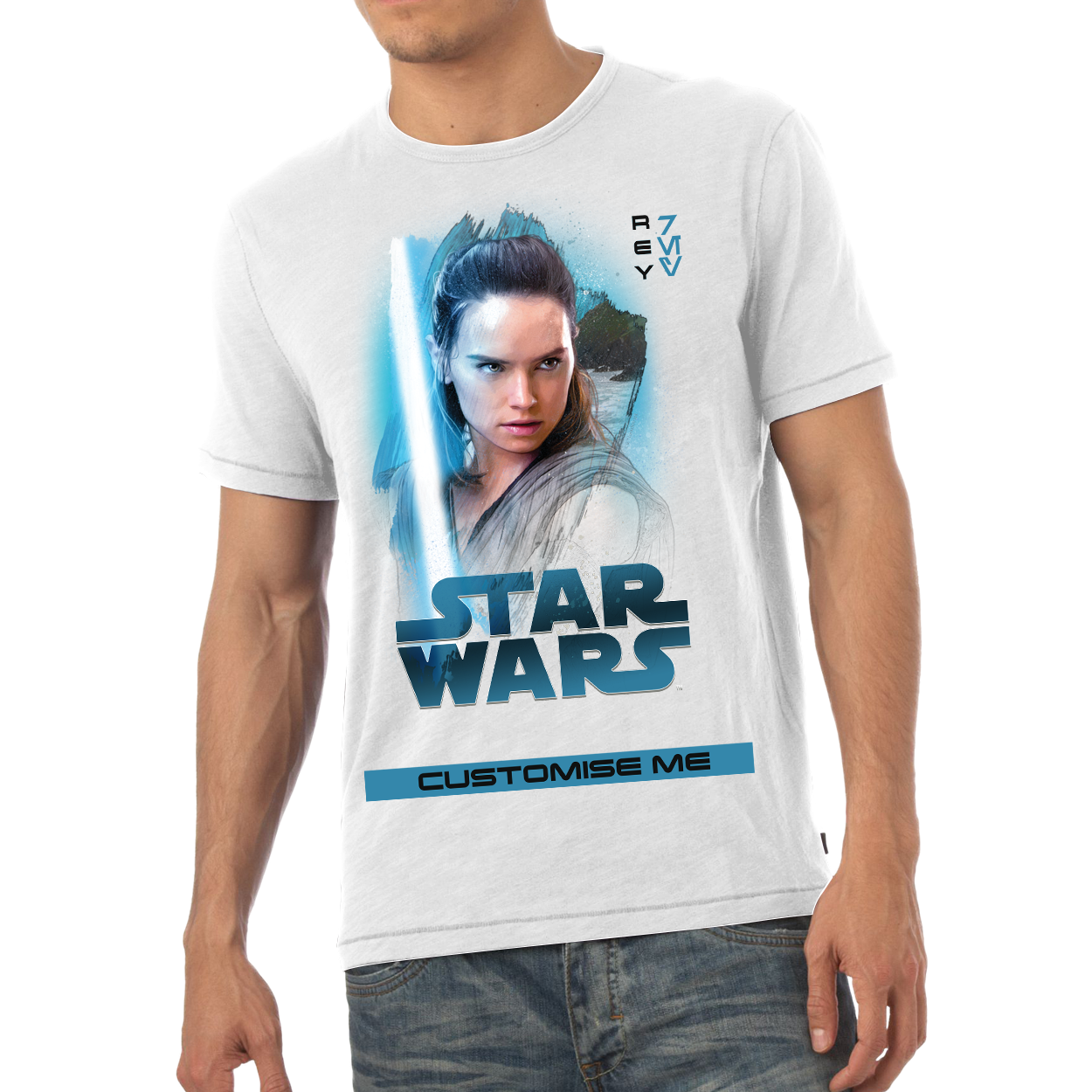 Star Wars Rey Last Jedi Spray Paint Mens T-shirt