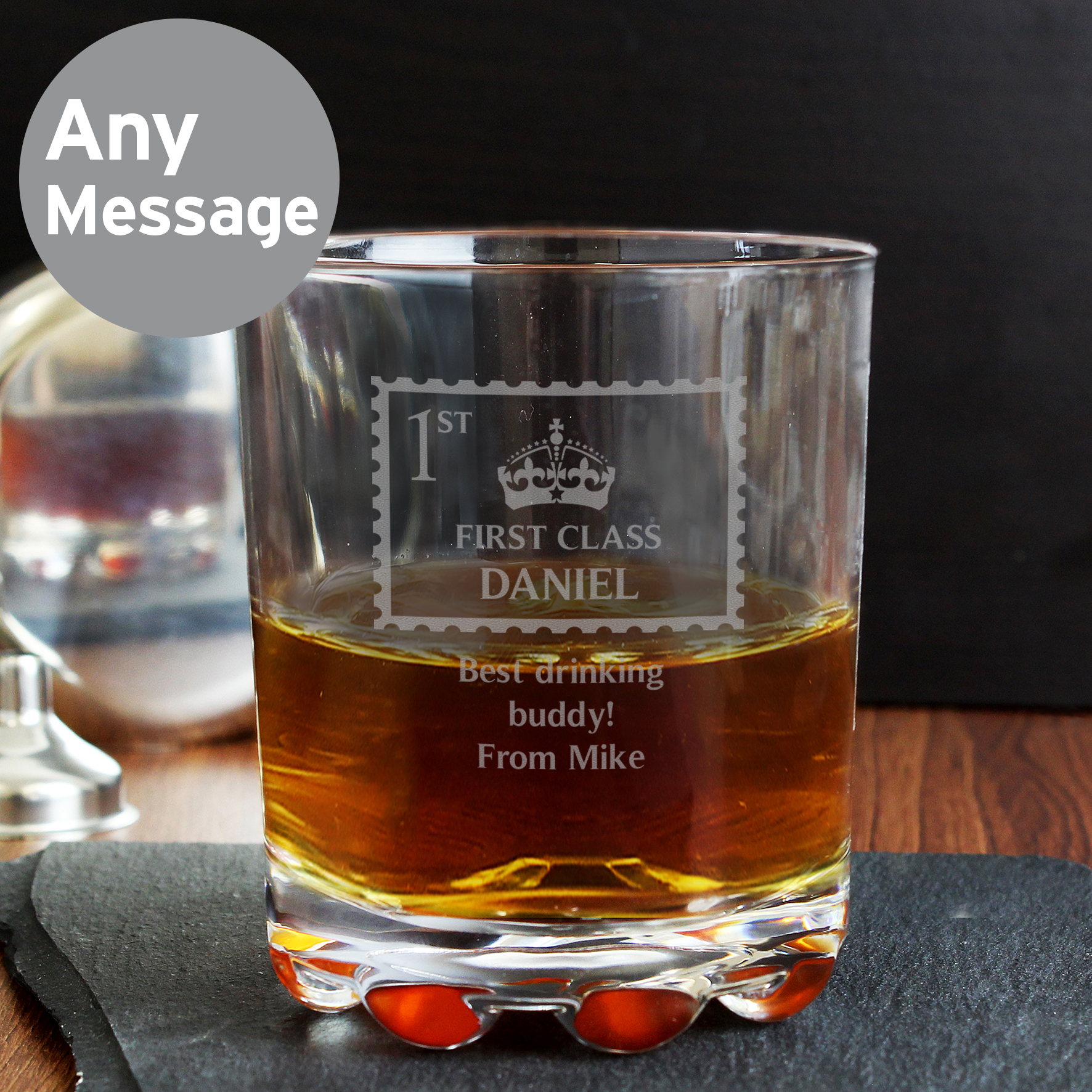 Engraved First Class Whisky Glass