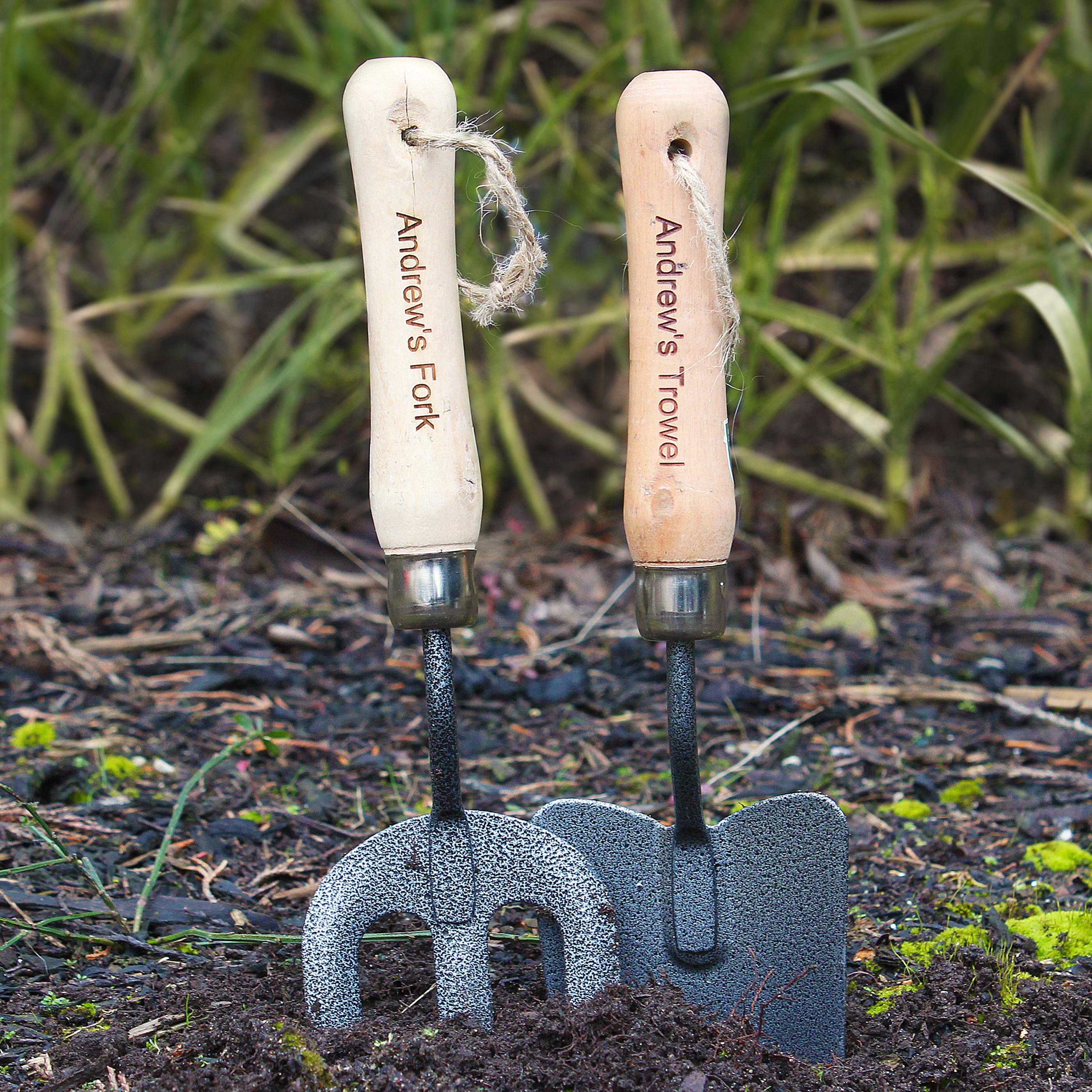 Engraved Fork and Trowel Set