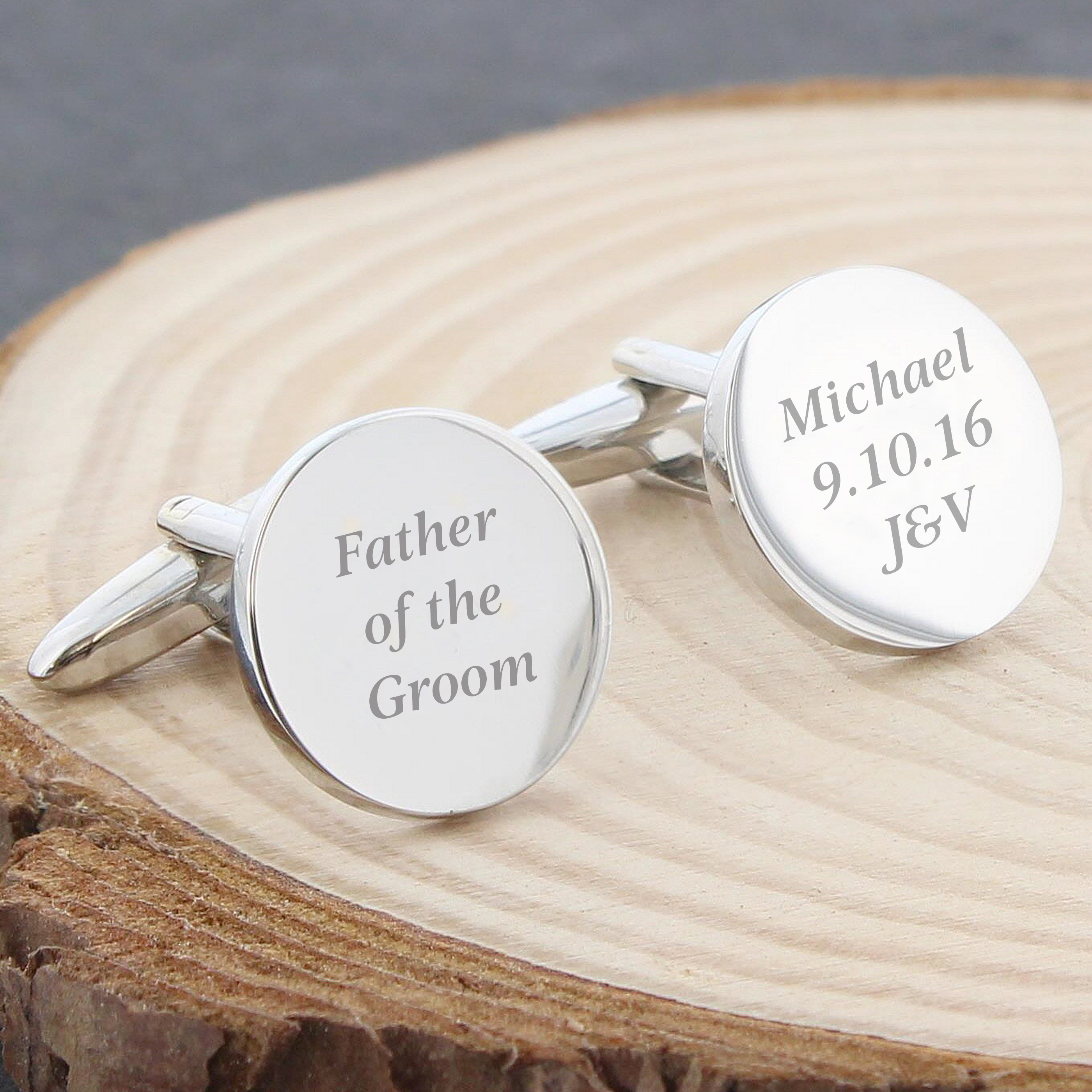 Engraved Round Cufflinks