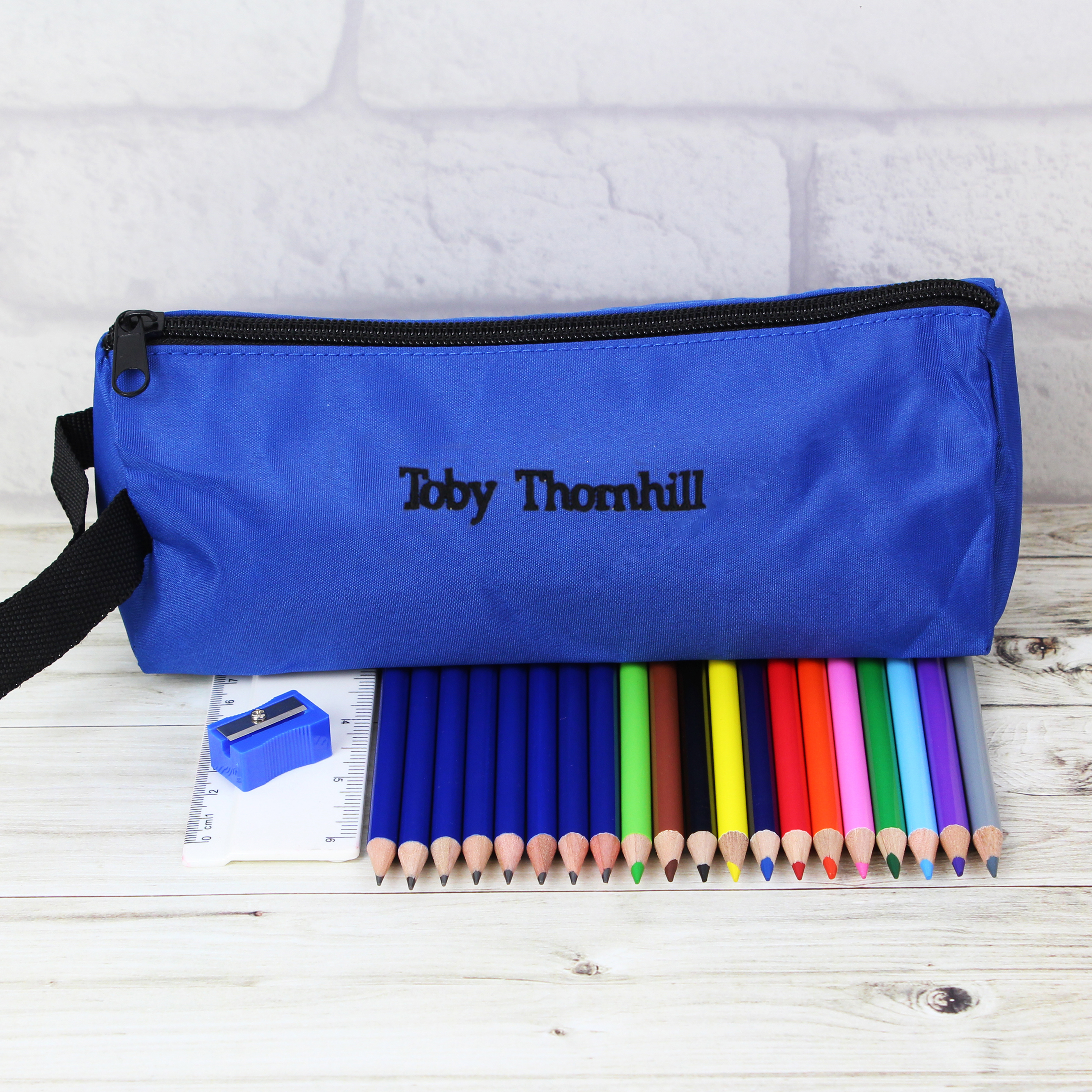 Personalised Blue Pencil Case and Set