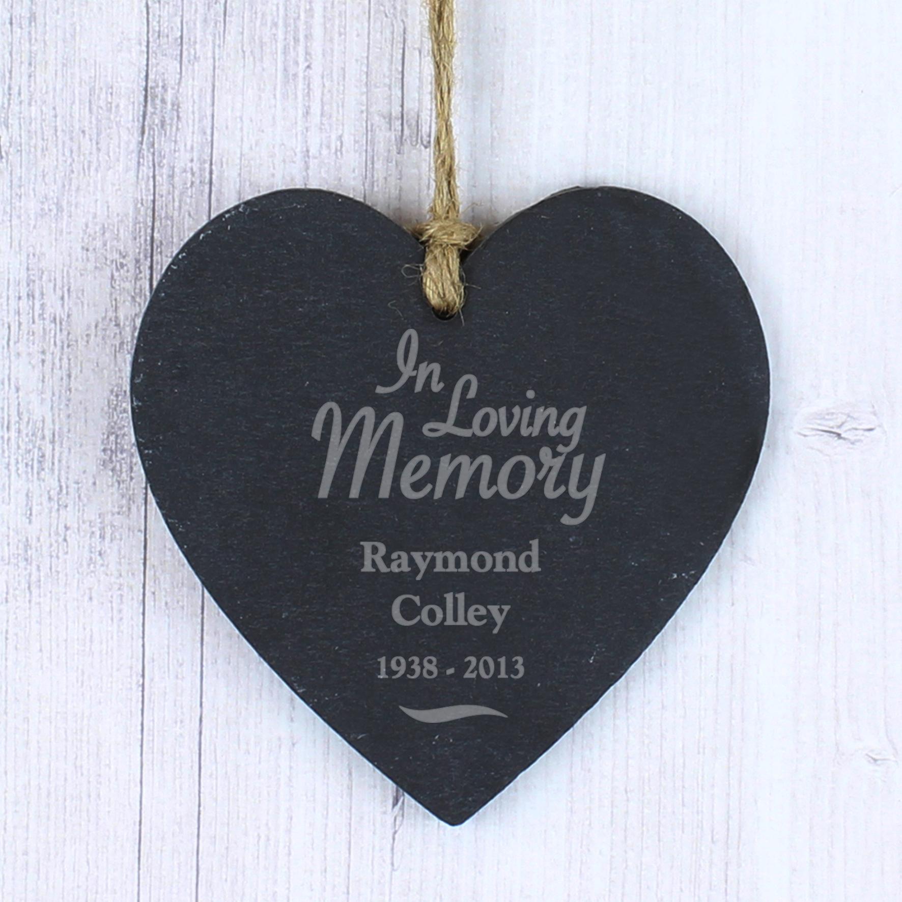 Engraved Slate Heart - In Loving Memory