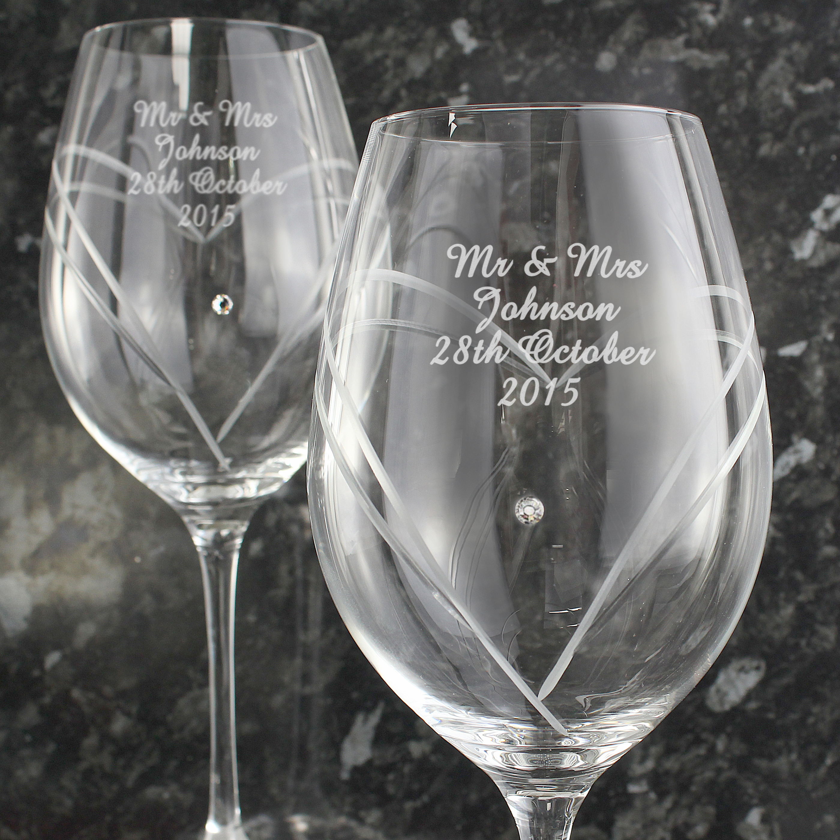 Engraved Heart Wine Glasses with Swarovski Elements - Hand Cut