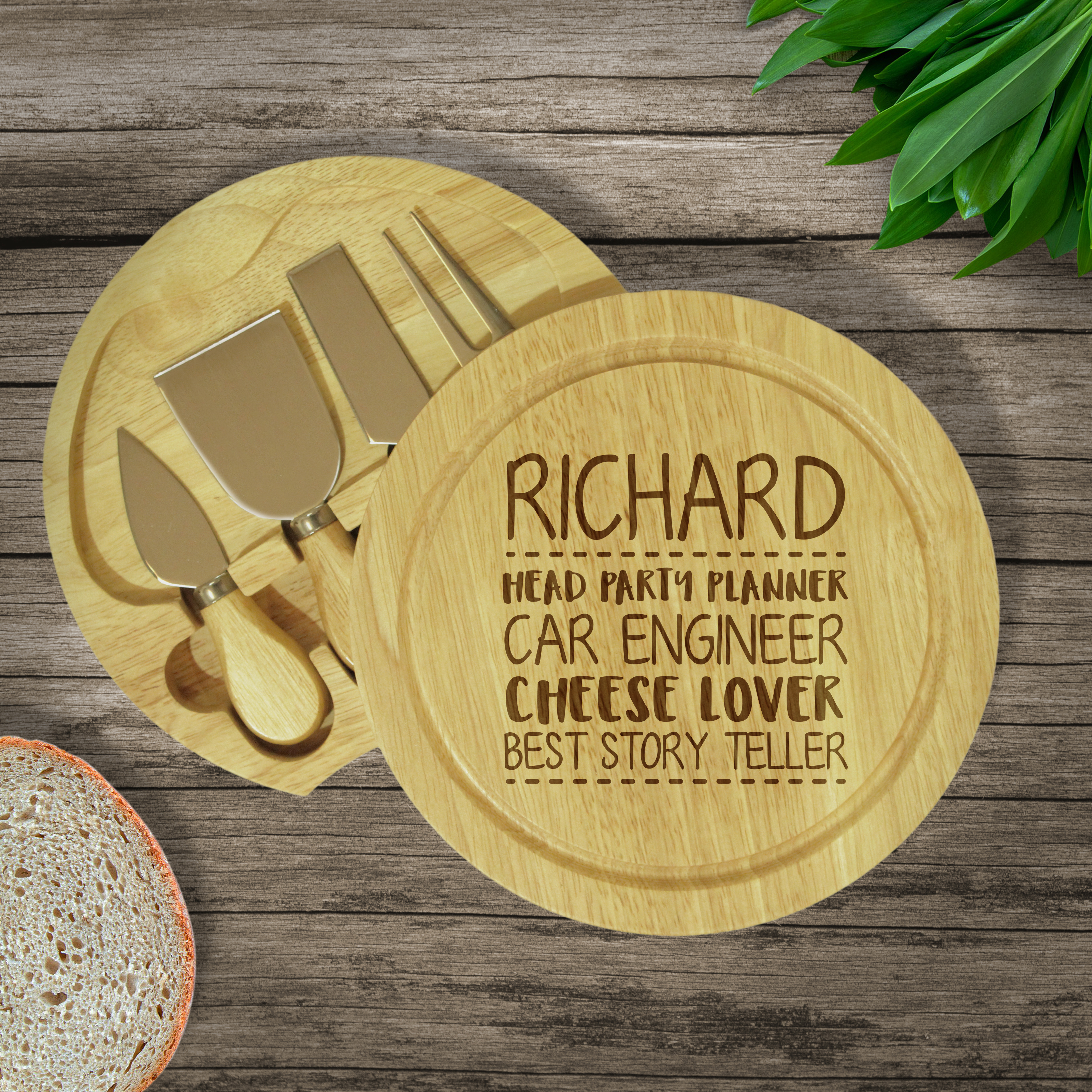 W & G 'No Crackers' Wooden Cheese Board & Knives Set