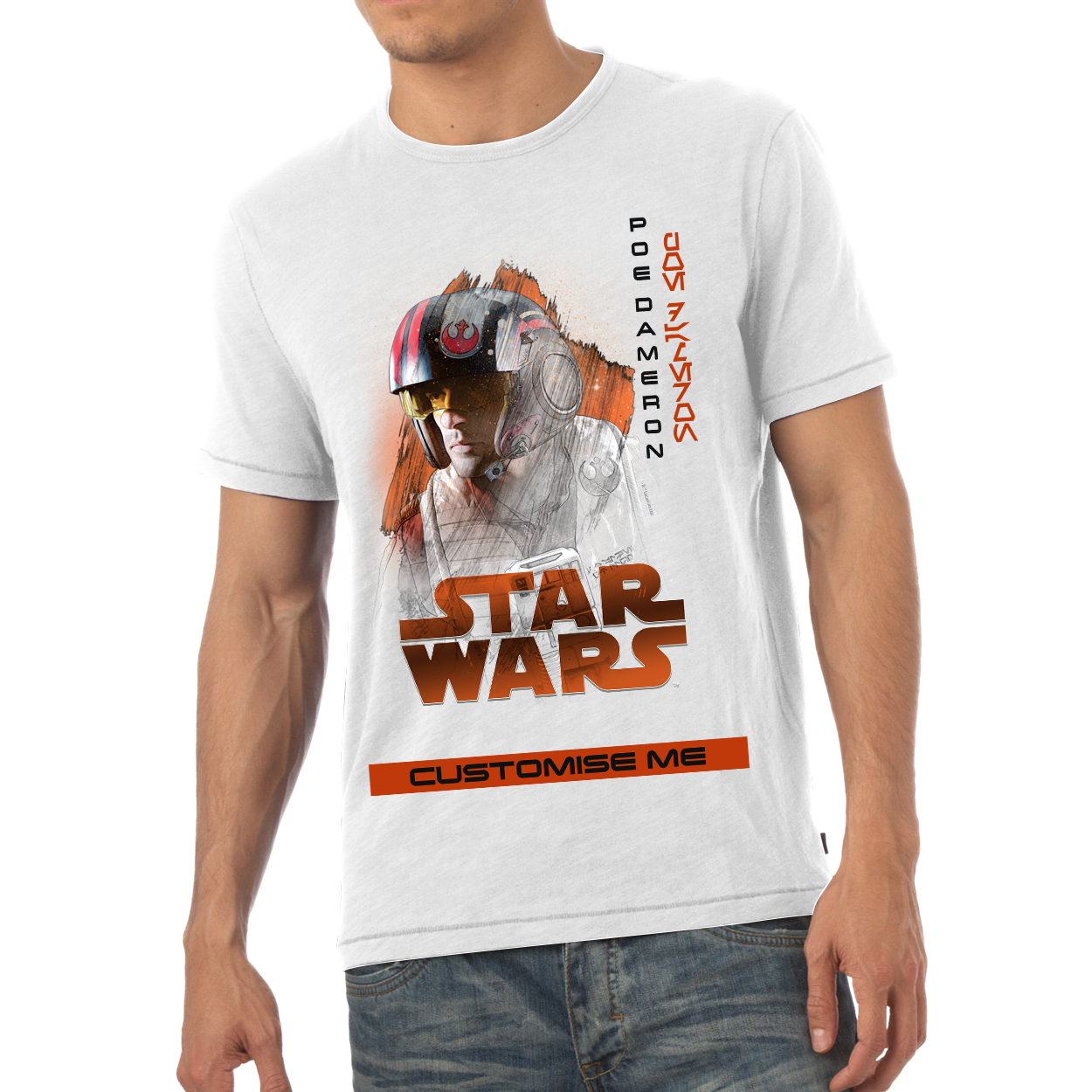 Star Wars Poe Dameron Last Jedi Spray Paint Mens T-shirt