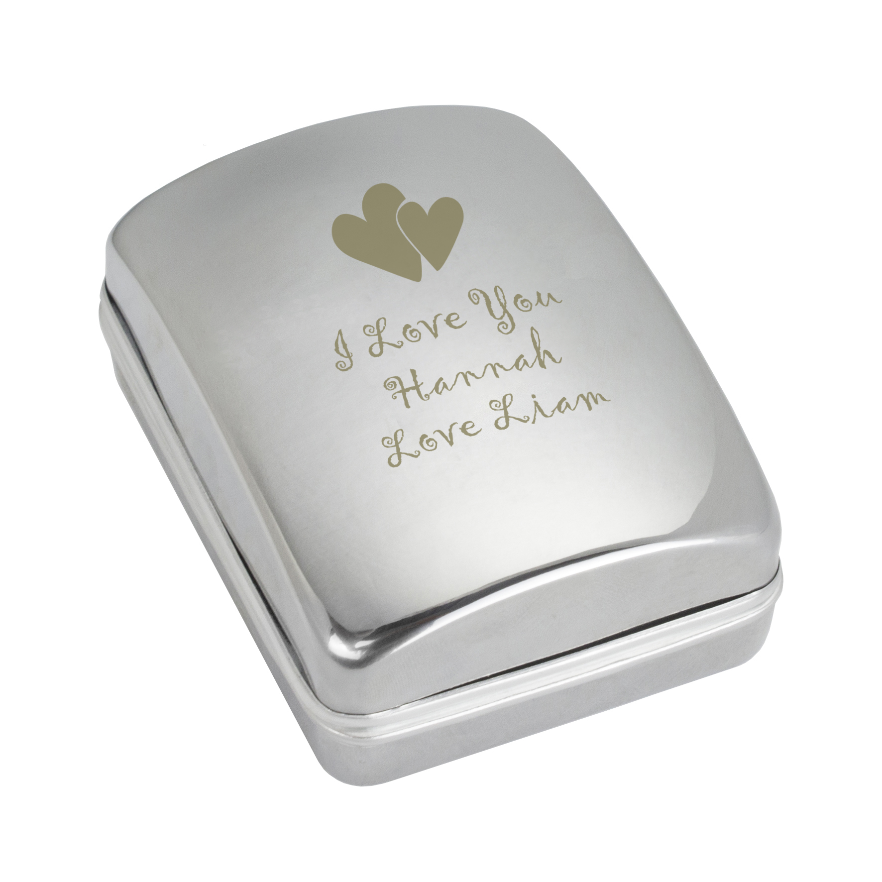 Engraved Heart Motif Necklace Box with Heart Necklace